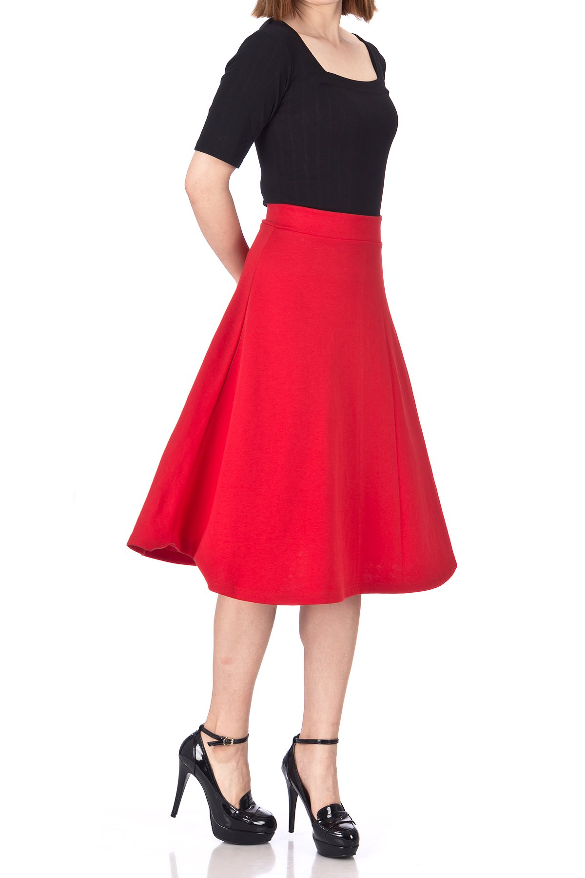 Everyday High Waist A Line Flared Skater Midi Skirt Red 05
