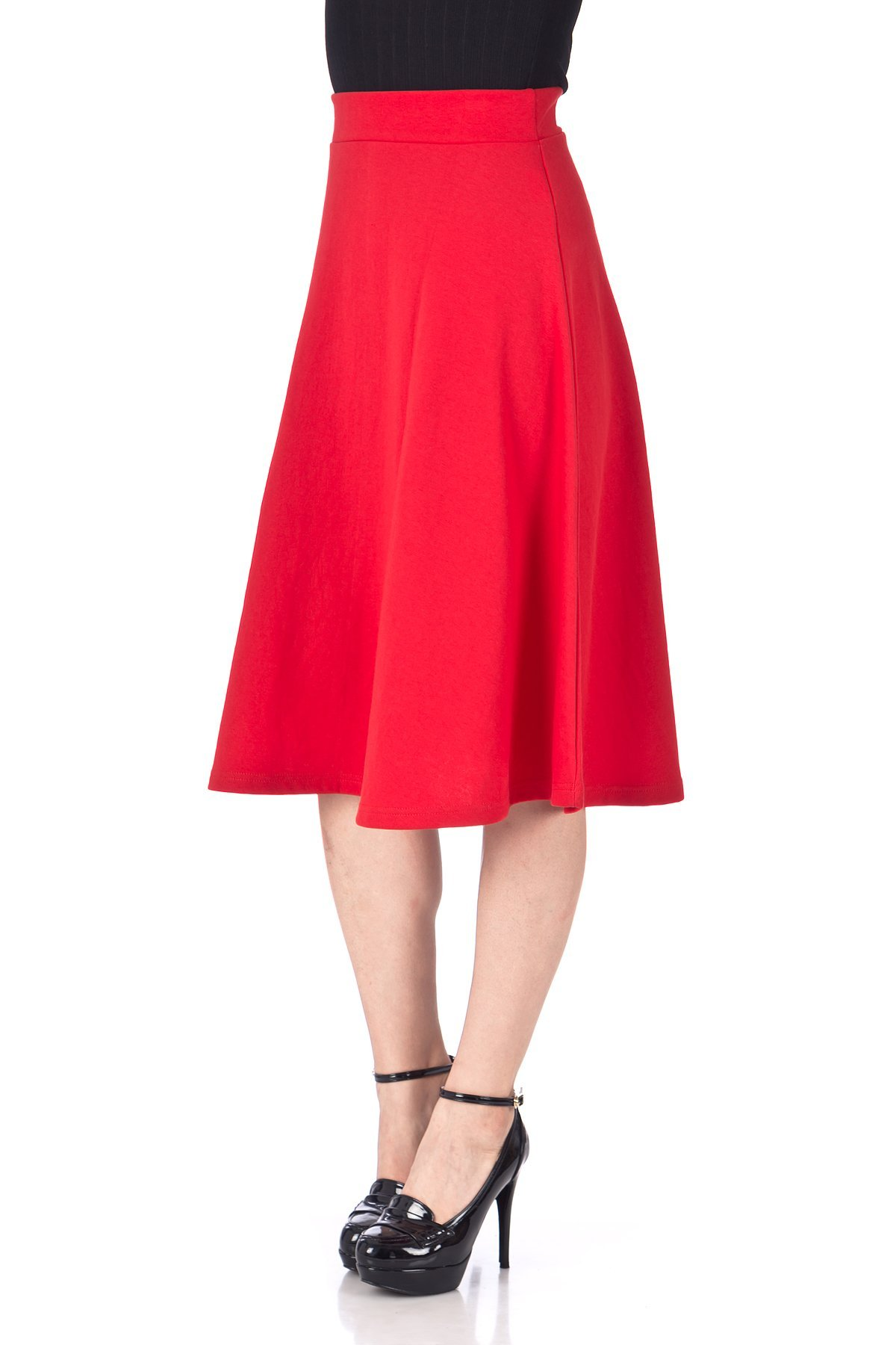 Everyday High Waist A Line Flared Skater Midi Skirt Red 06