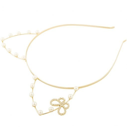 Artificial Pearl Cat Ear Headband With Rhinestone Butterfly Gold 1
