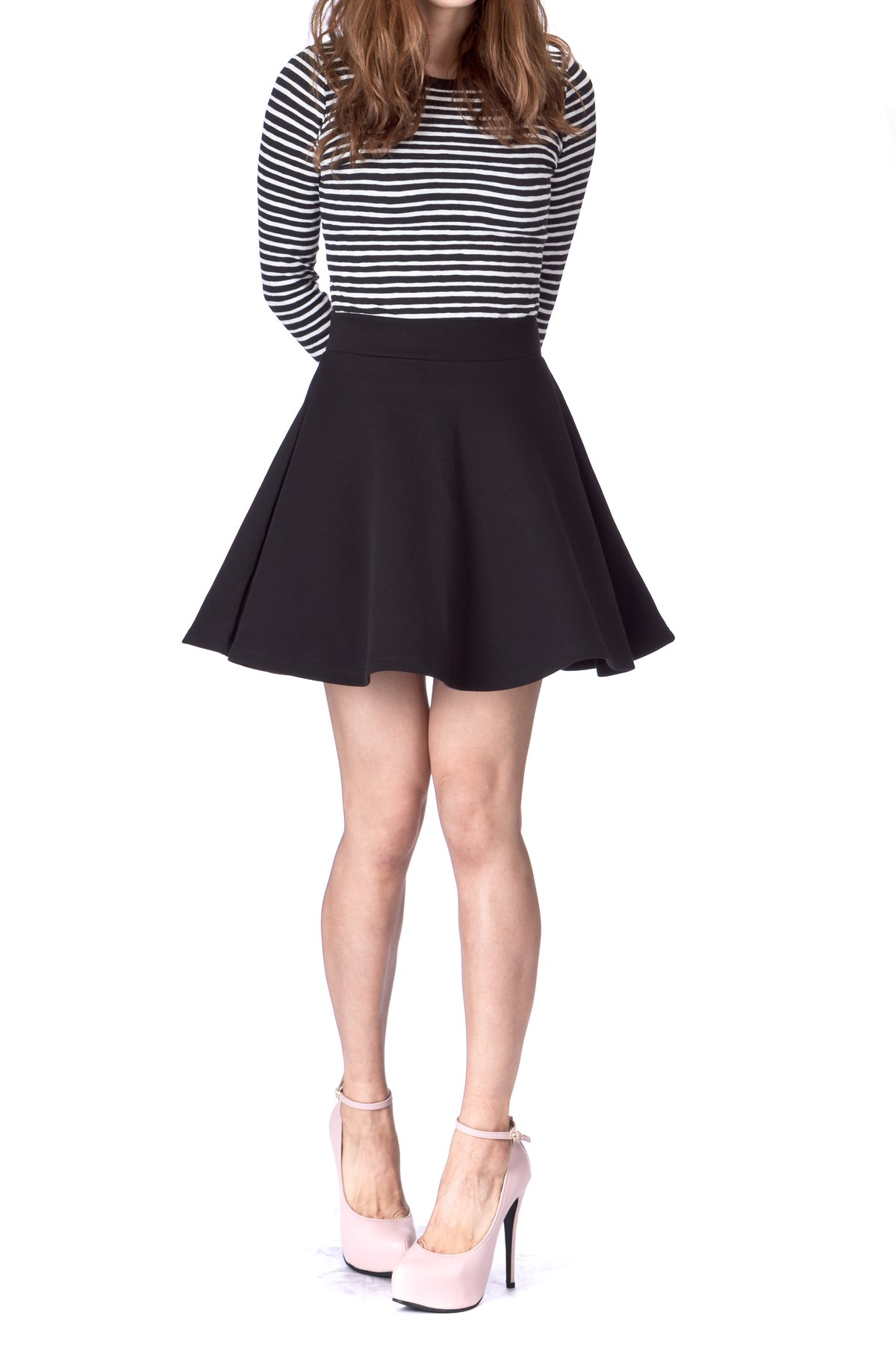 Basic Solid Stretchy Cotton High Waist A line Flared Skater Mini Skirt Black 01 1