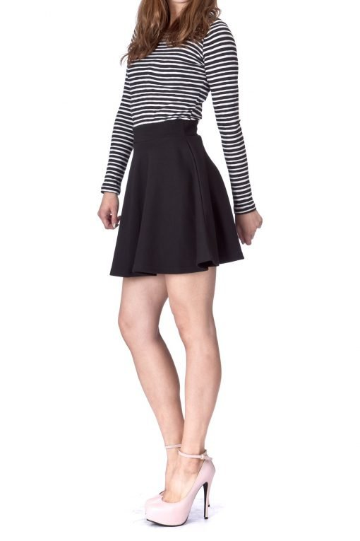 Basic Solid Stretchy Cotton High Waist A line Flared Skater Mini Skirt Black 04 1