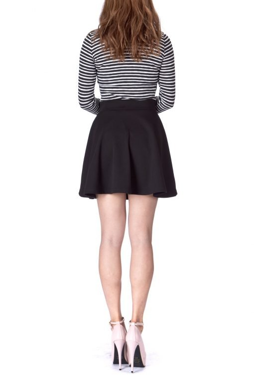 Basic Solid Stretchy Cotton High Waist A line Flared Skater Mini Skirt Black 05 1