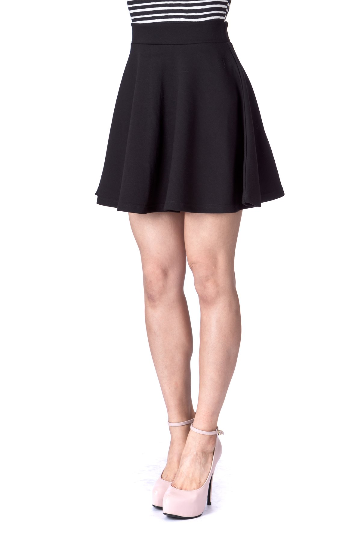 Basic Solid Stretchy Cotton High Waist A line Flared Skater Mini Skirt Black 06