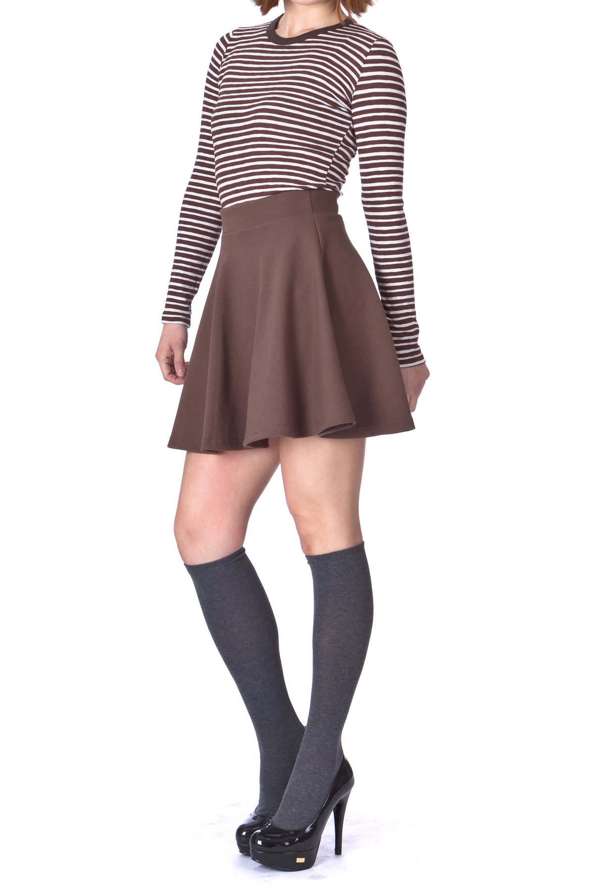 Basic Solid Stretchy Cotton High Waist A line Flared Skater Mini Skirt Brown 1