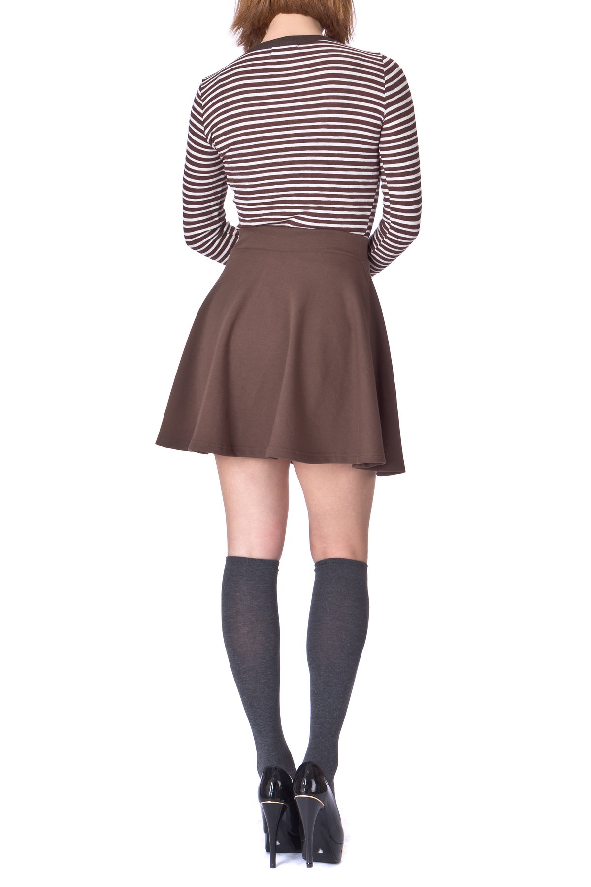 Basic Solid Stretchy Cotton High Waist A line Flared Skater Mini Skirt Brown 3
