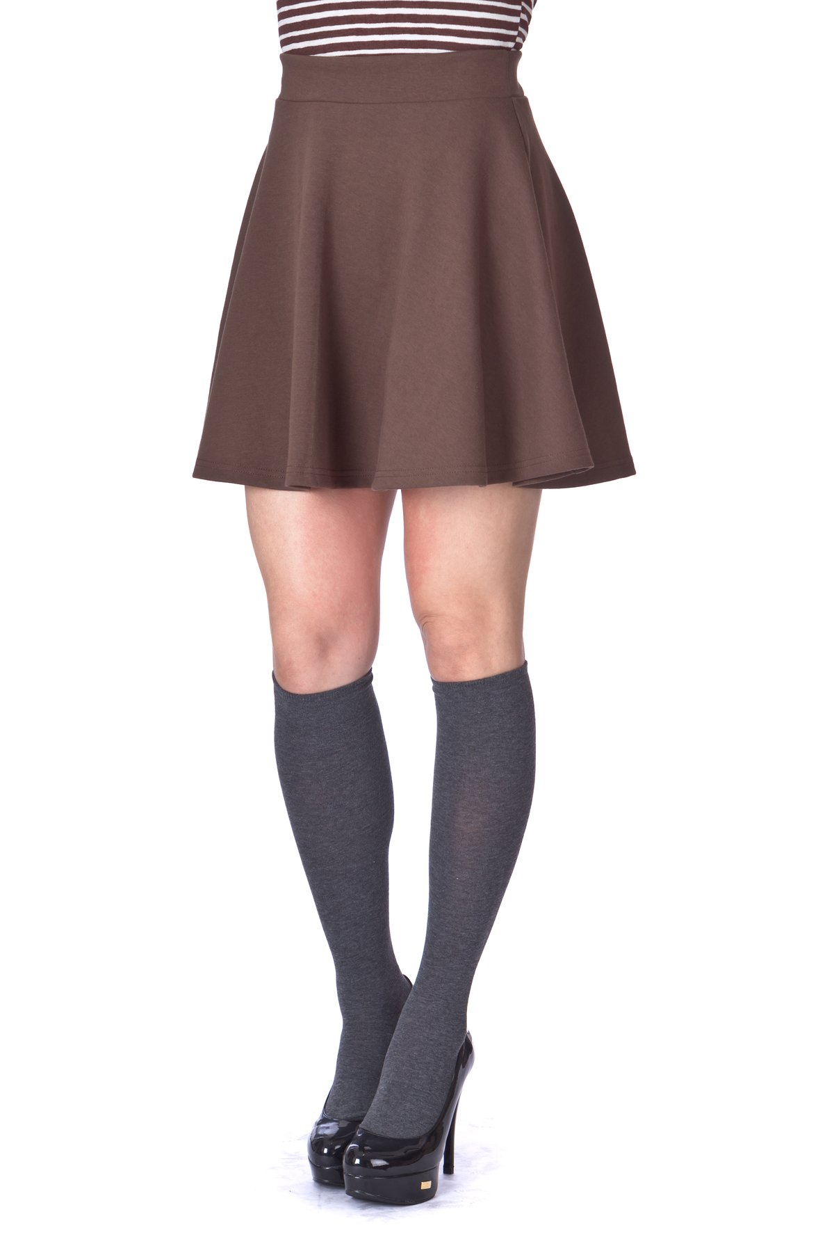 Basic Solid Stretchy Cotton High Waist A line Flared Skater Mini Skirt Brown 6