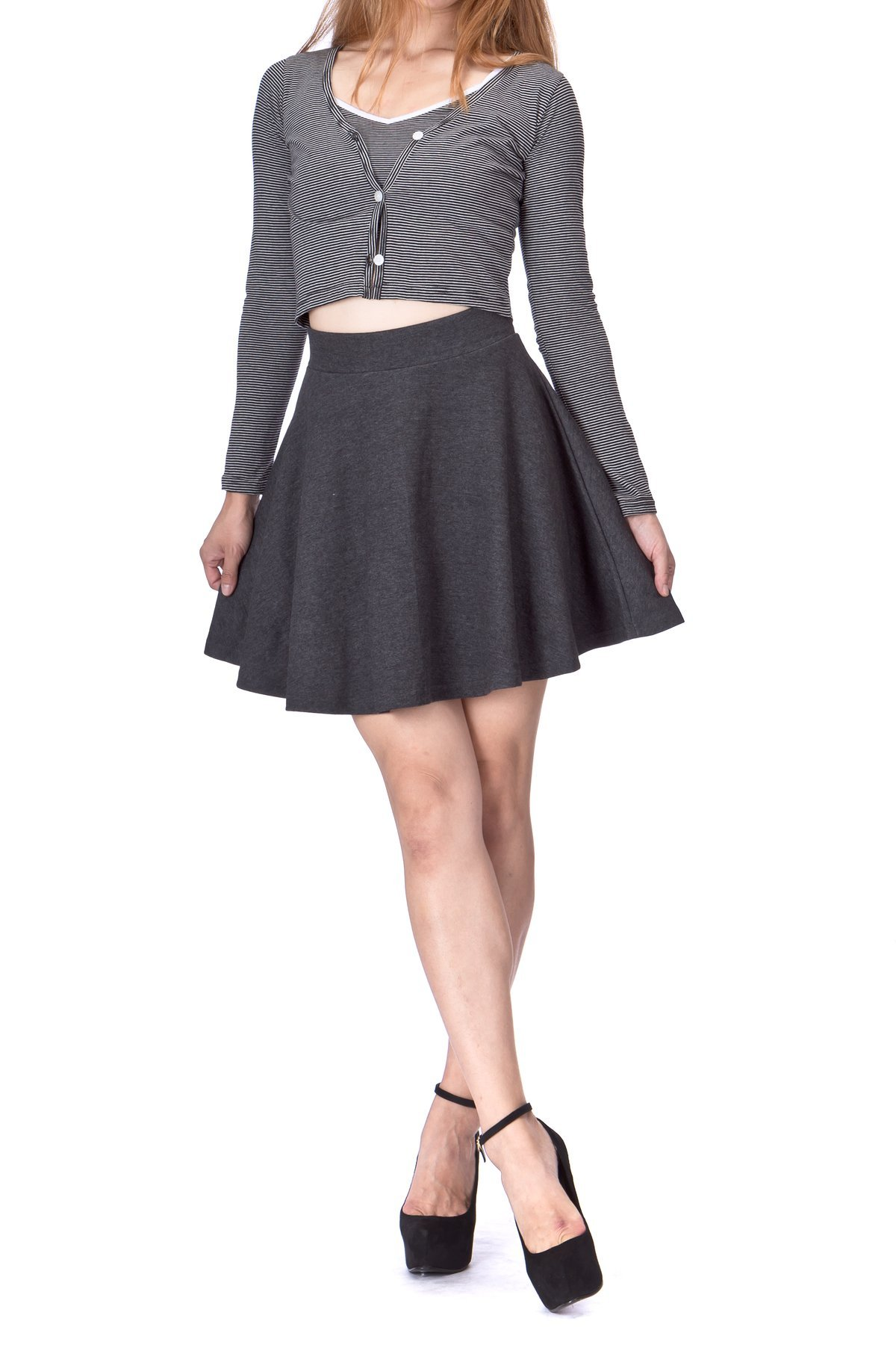 Basic Solid Stretchy Cotton High Waist A line Flared Skater Mini Skirt Charcoal 01 1