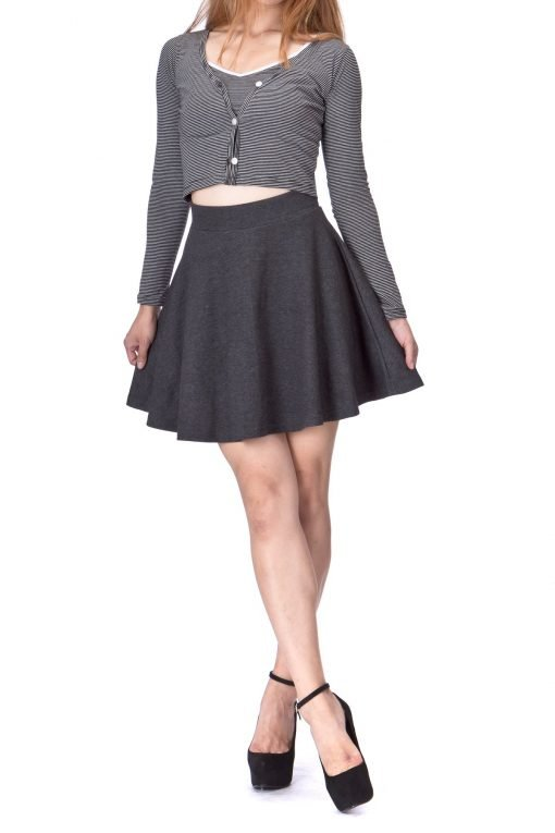 Basic Solid Stretchy Cotton High Waist A line Flared Skater Mini Skirt Charcoal 01 2