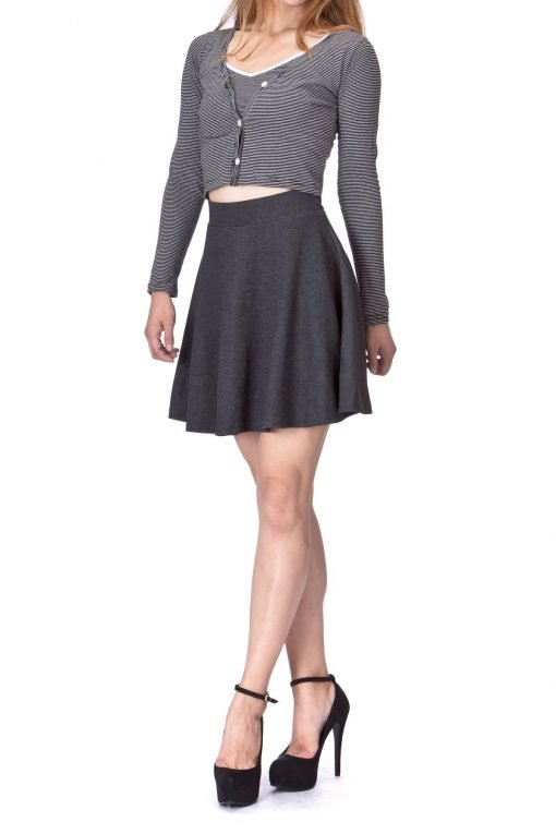 Basic Solid Stretchy Cotton High Waist A line Flared Skater Mini Skirt Charcoal 02 2
