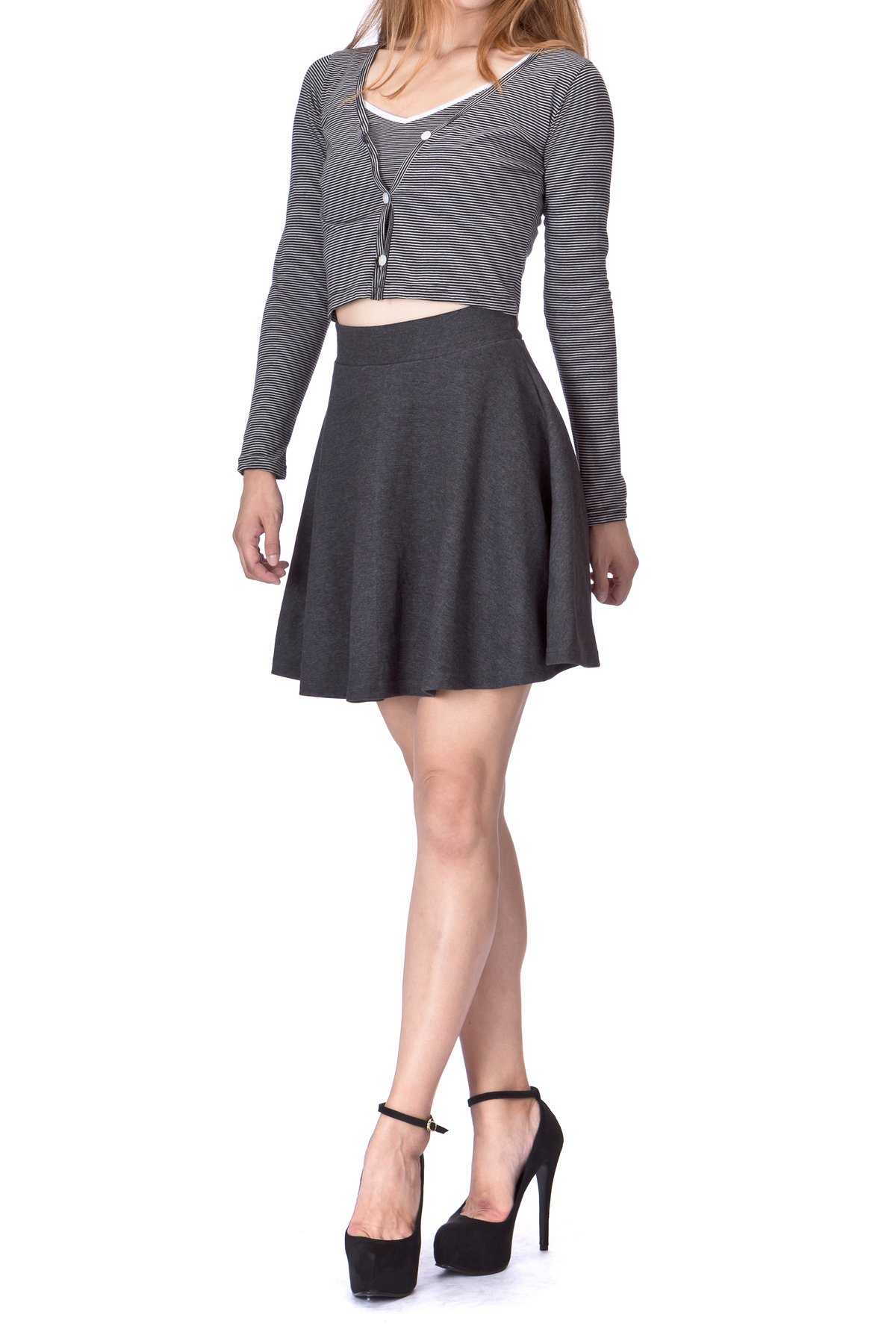 Basic Solid Stretchy Cotton High Waist A line Flared Skater Mini Skirt Charcoal 02