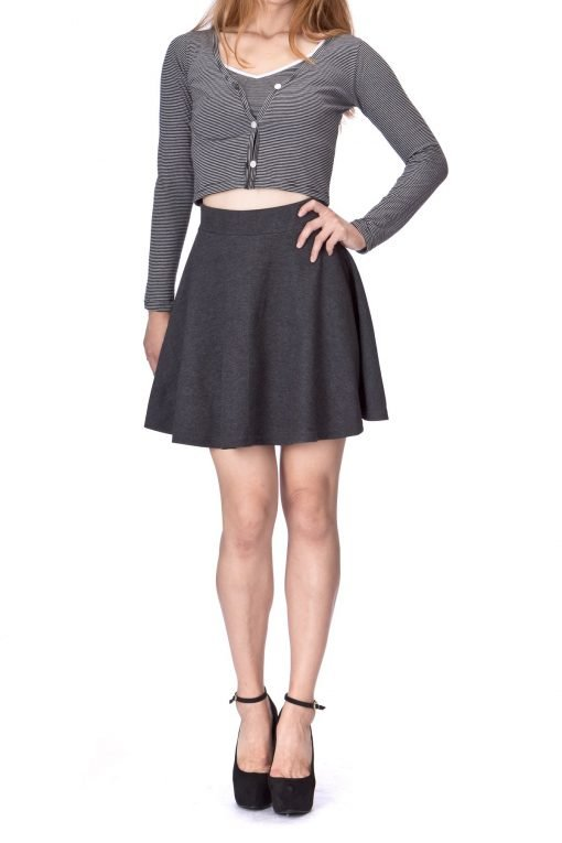 Basic Solid Stretchy Cotton High Waist A line Flared Skater Mini Skirt Charcoal 03 2