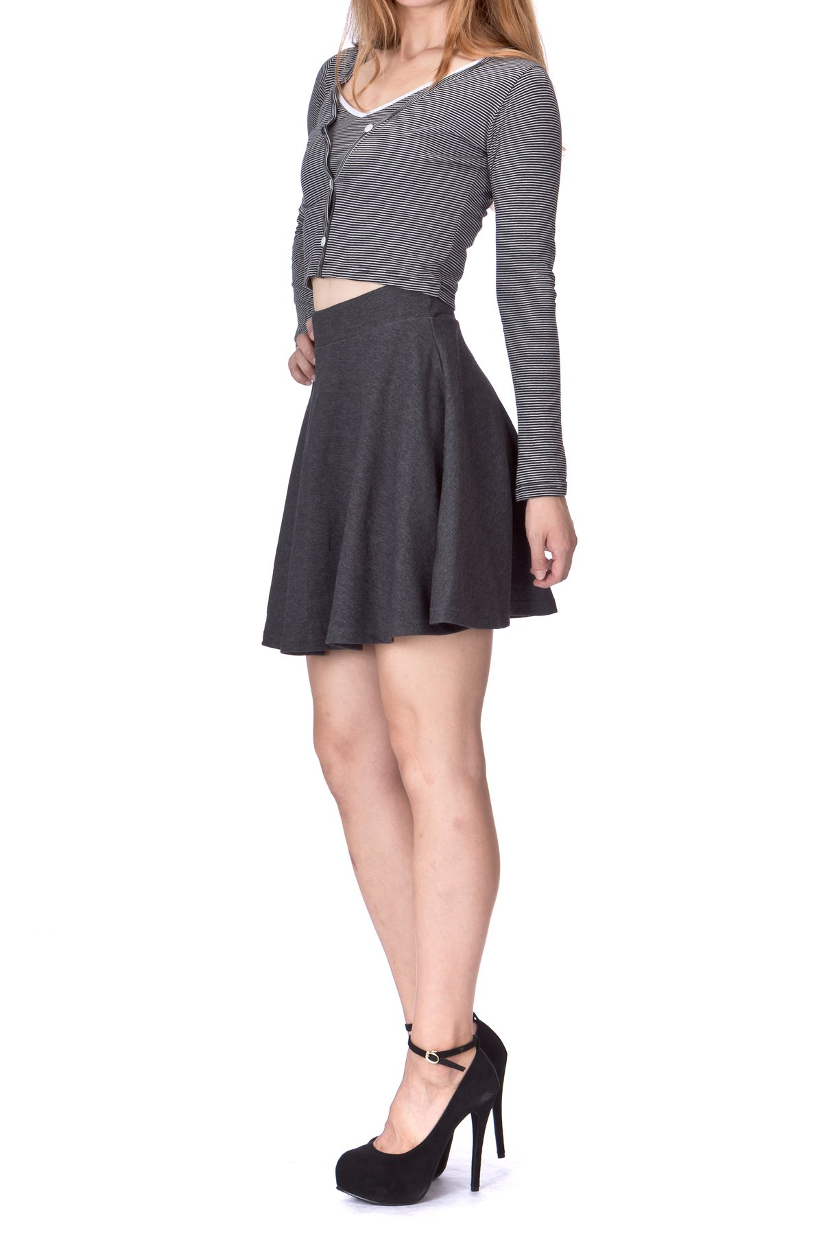 Basic Solid Stretchy Cotton High Waist A line Flared Skater Mini Skirt Charcoal 04