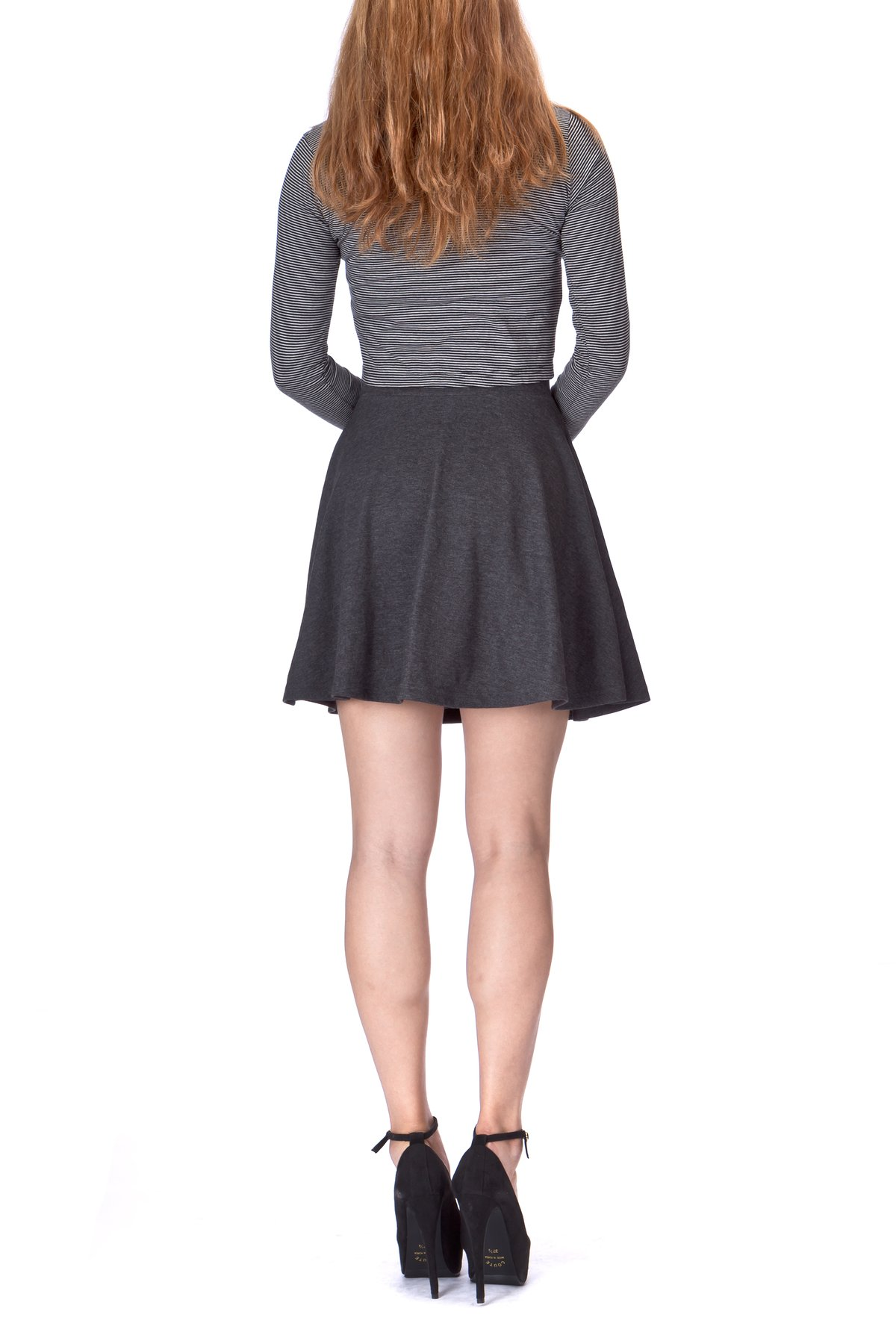 Basic Solid Stretchy Cotton High Waist A line Flared Skater Mini Skirt Charcoal 05