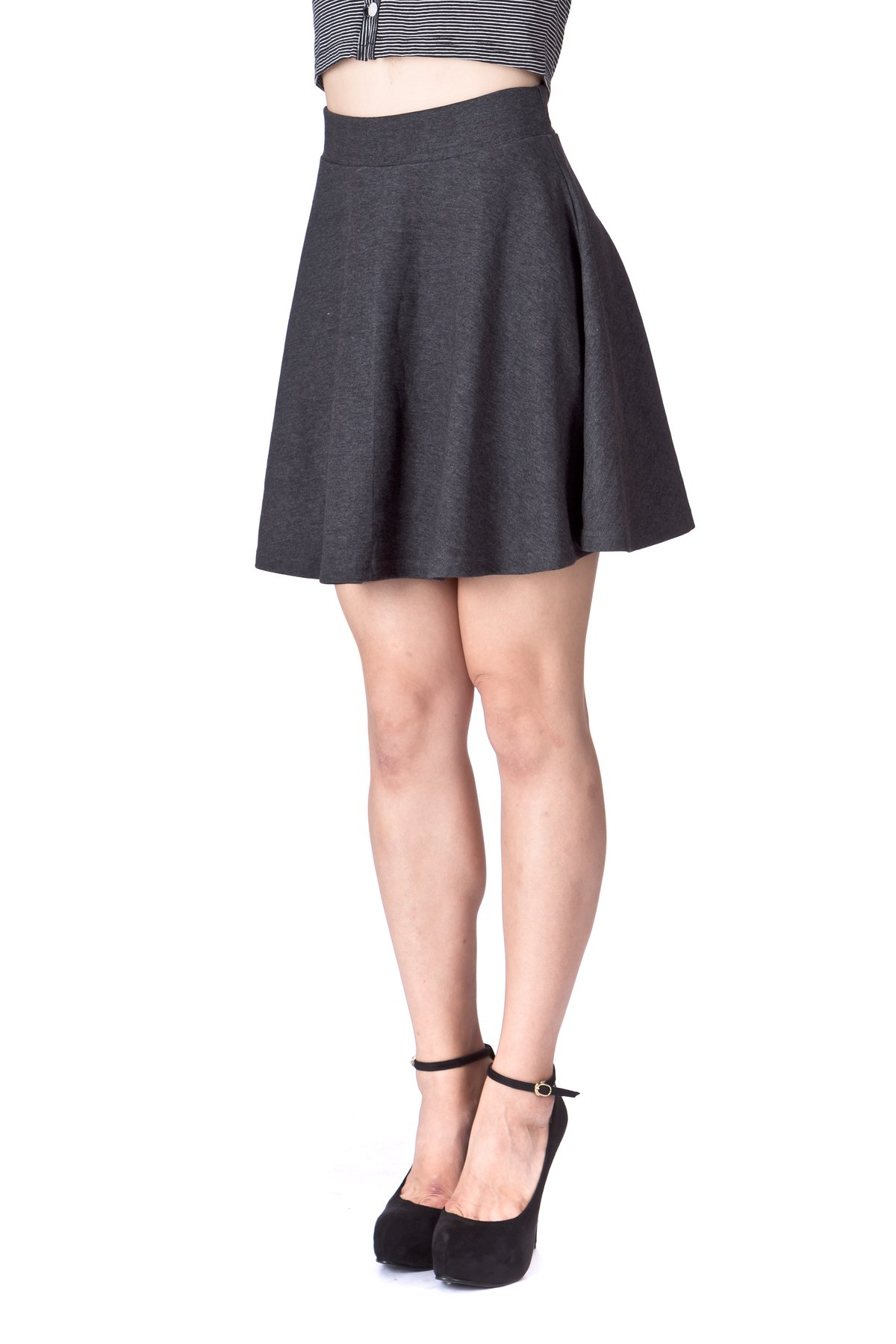 Basic Solid Stretchy Cotton High Waist A line Flared Skater Mini Skirt Charcoal 06 1