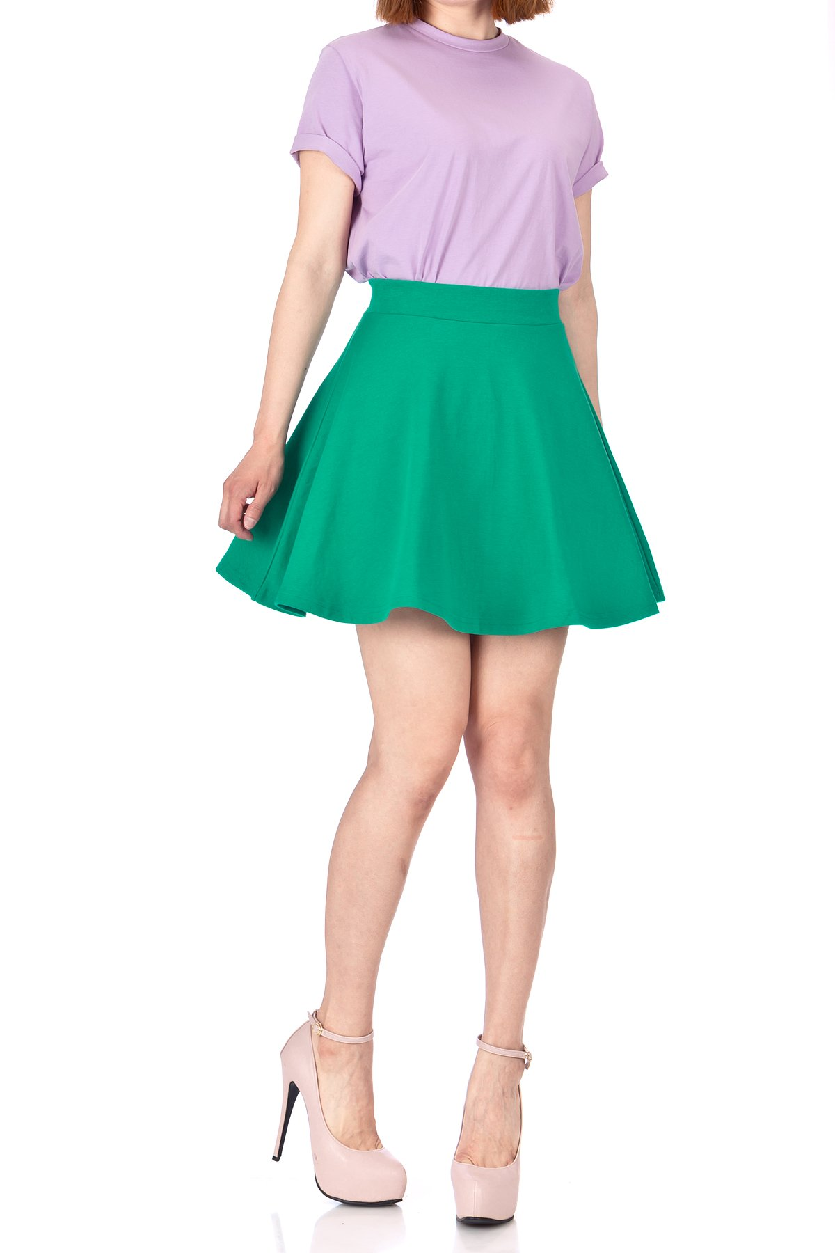 Basic Solid Stretchy Cotton High Waist A line Flared Skater Mini Skirt Green 01