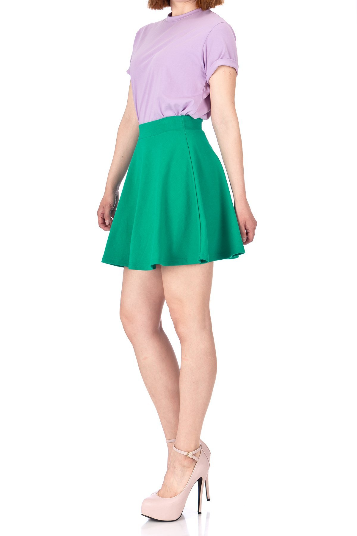 Basic Solid Stretchy Cotton High Waist A line Flared Skater Mini Skirt Green 02