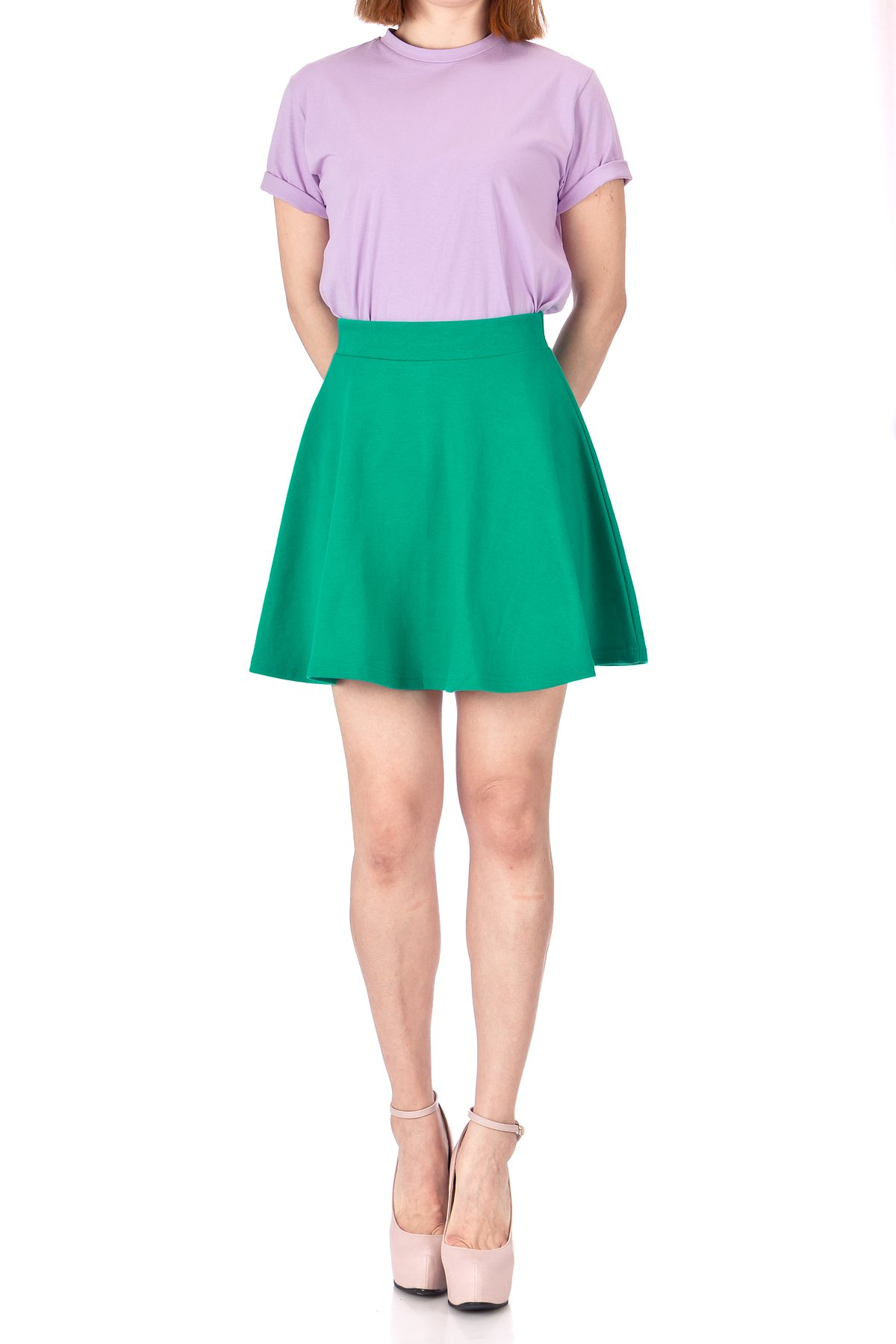 Basic Solid Stretchy Cotton High Waist A line Flared Skater Mini Skirt Green 03