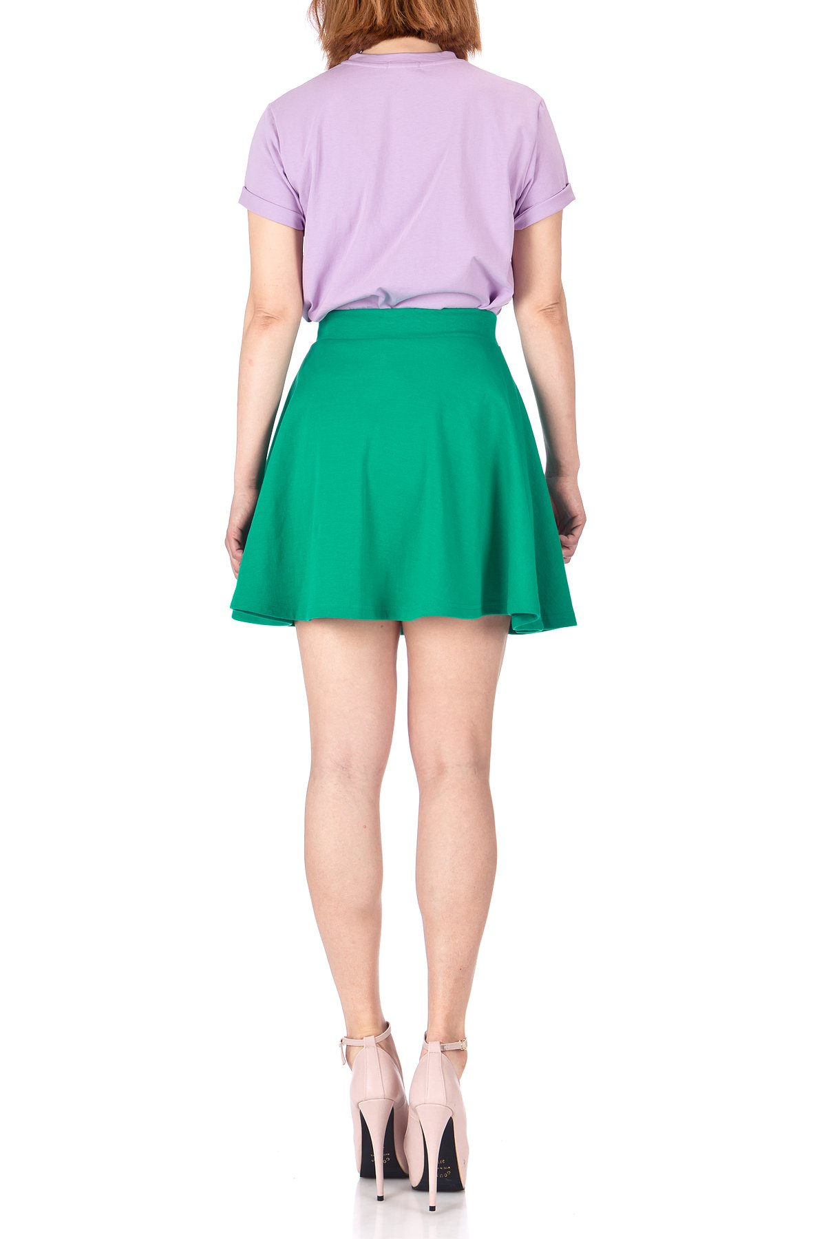 Basic Solid Stretchy Cotton High Waist A line Flared Skater Mini Skirt Green 04
