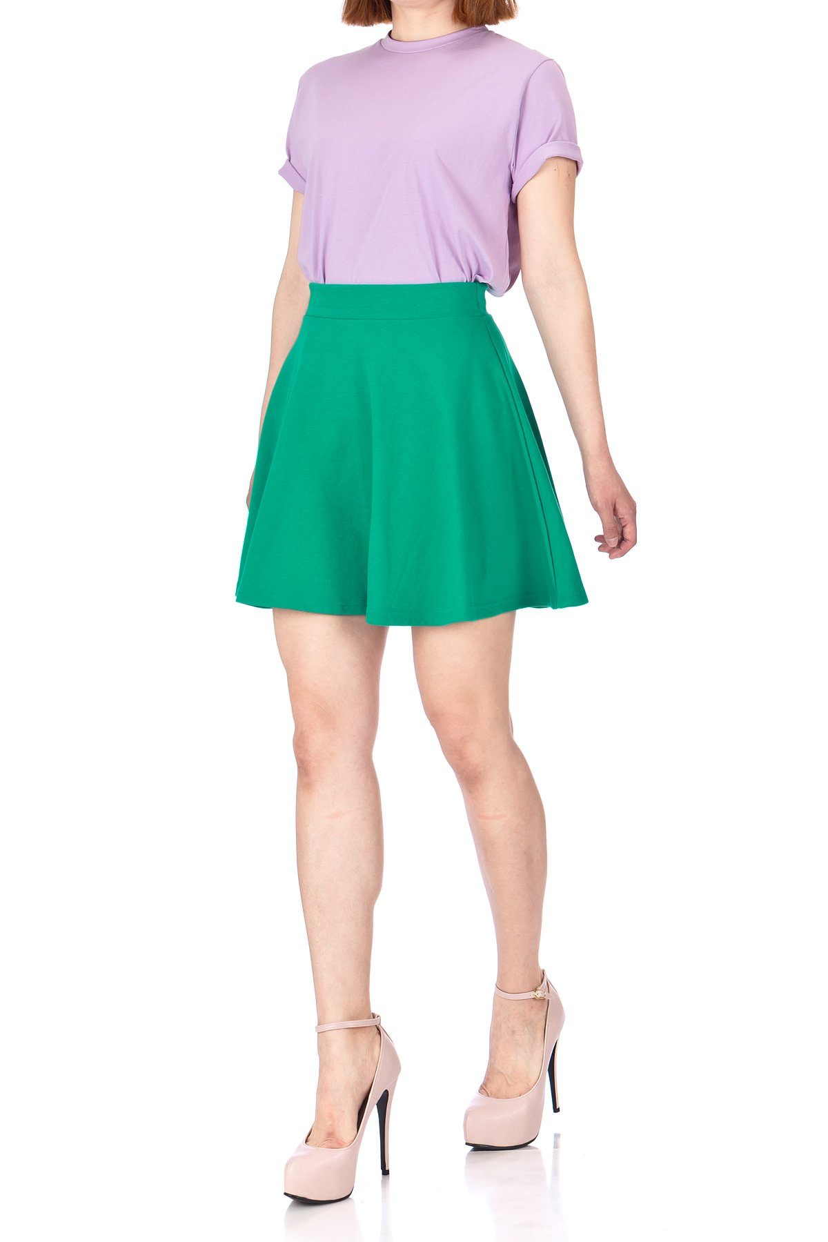 Basic Solid Stretchy Cotton High Waist A line Flared Skater Mini Skirt Green 05