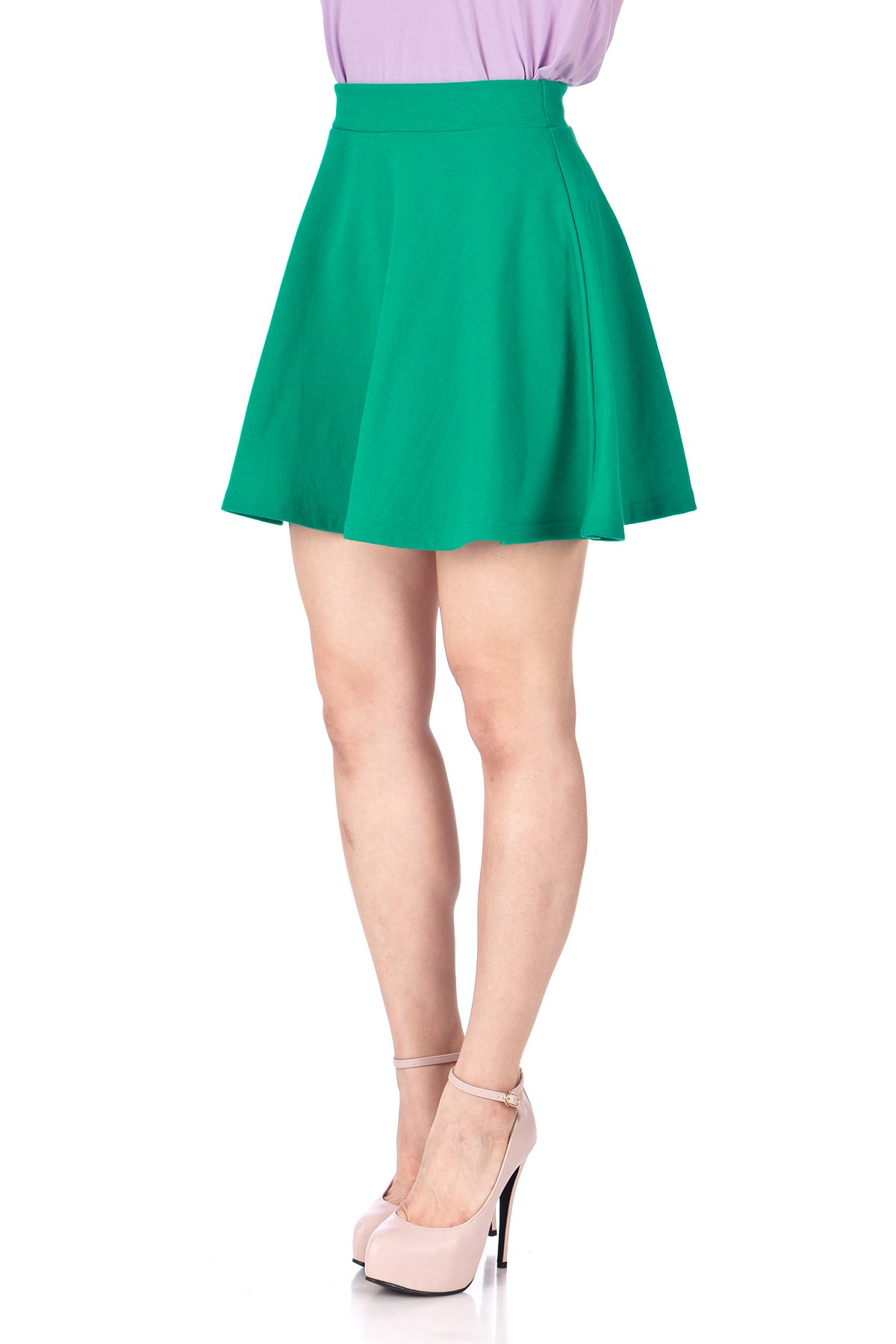 Basic Solid Stretchy Cotton High Waist A line Flared Skater Mini Skirt Green 06