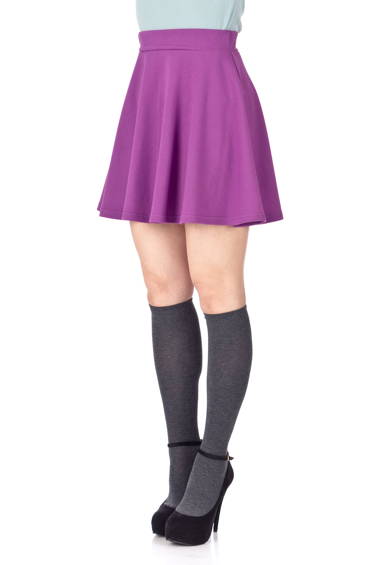 Basic Solid Stretchy Cotton High Waist A line Flared Skater Mini Skirt Violet 06