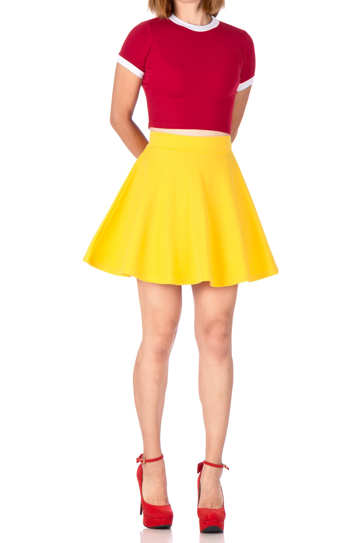Basic Solid Stretchy Cotton High Waist A line Flared Skater Mini Skirt Yellow 01