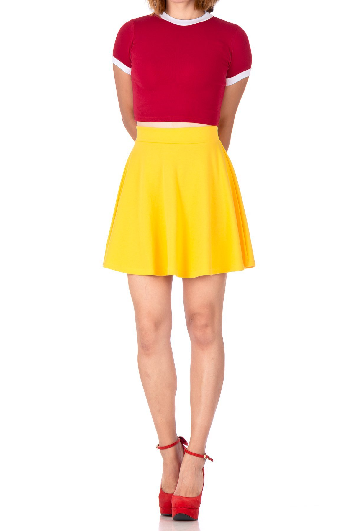 Basic Solid Stretchy Cotton High Waist A line Flared Skater Mini Skirt Yellow 02