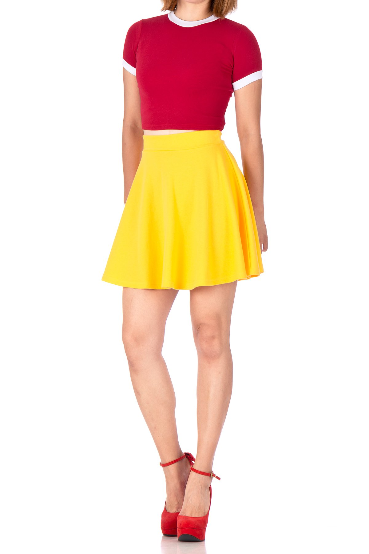 Basic Solid Stretchy Cotton High Waist A line Flared Skater Mini Skirt Yellow 03