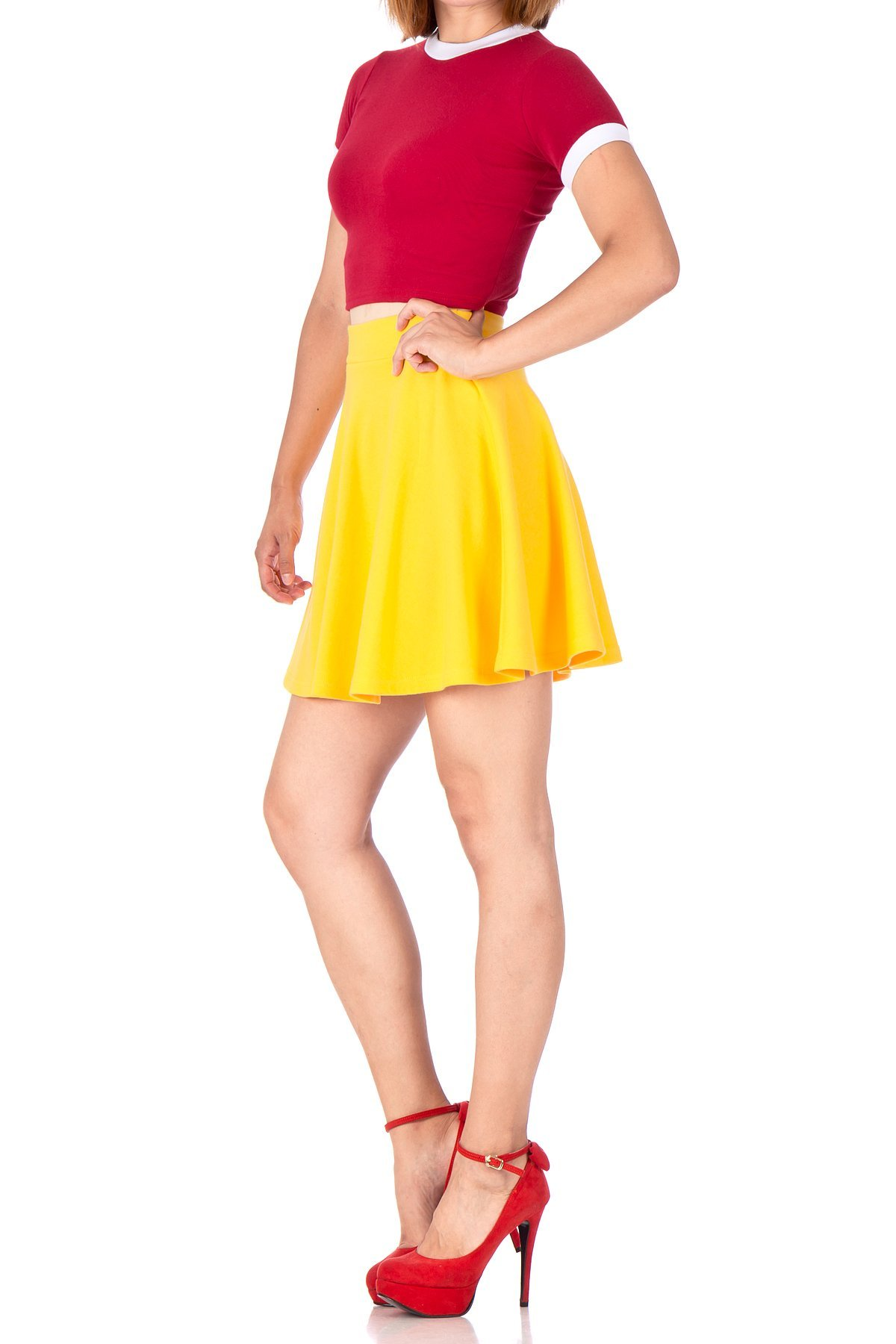 Basic Solid Stretchy Cotton High Waist A line Flared Skater Mini Skirt Yellow 04 1