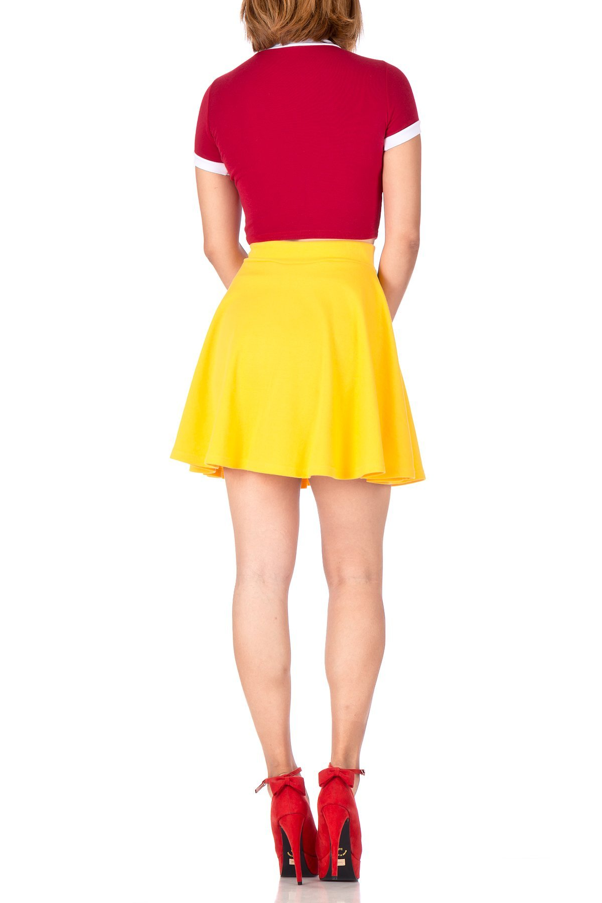 Basic Solid Stretchy Cotton High Waist A line Flared Skater Mini Skirt Yellow 05