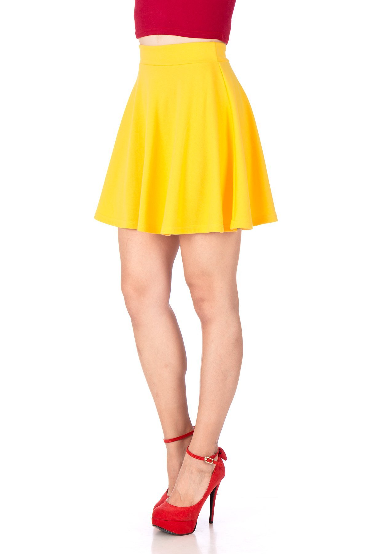 Basic Solid Stretchy Cotton High Waist A line Flared Skater Mini Skirt Yellow 06