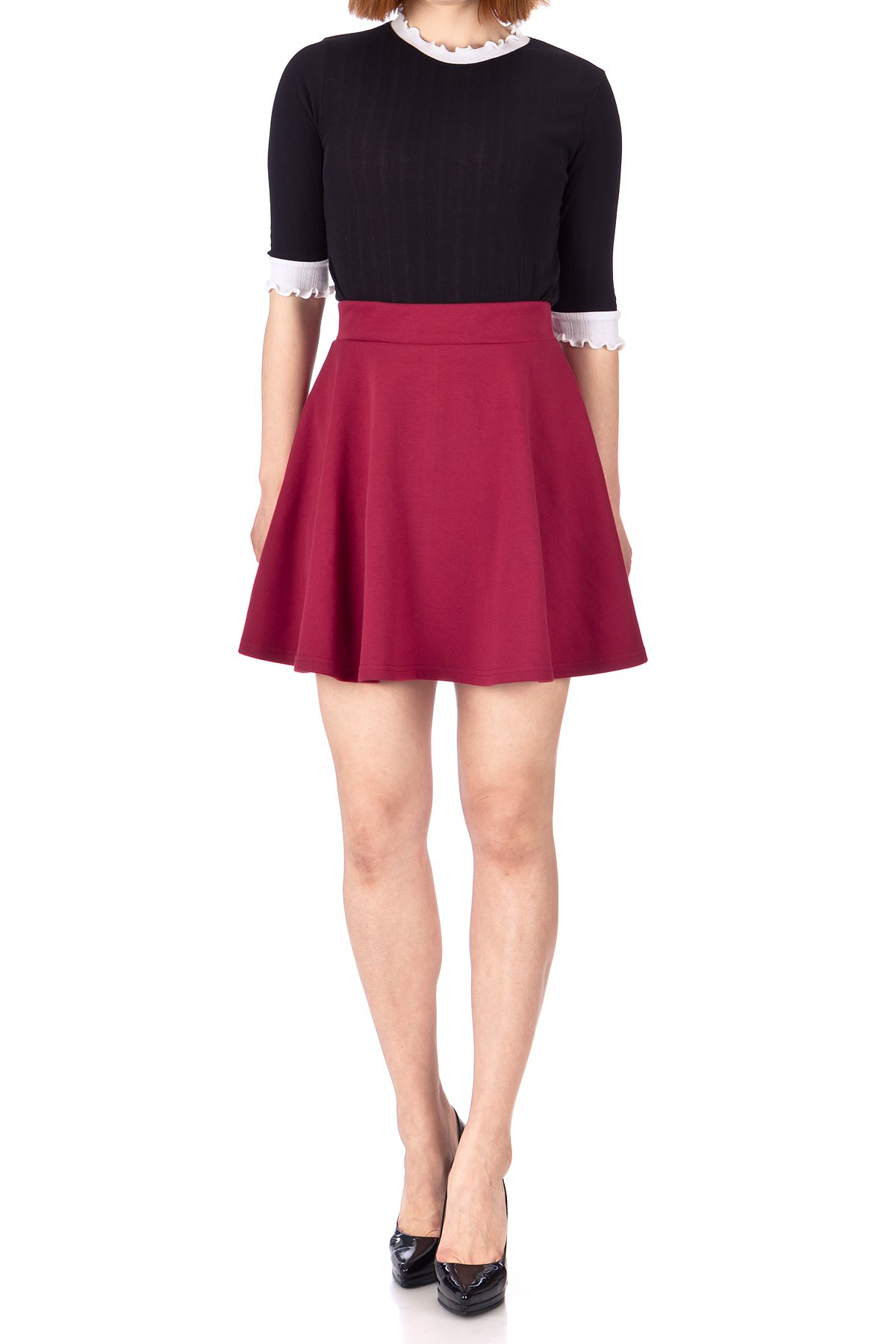 Basic Solid Stretchy Cotton High Waist line Flared Skater Mini Skirt Burgundy 02