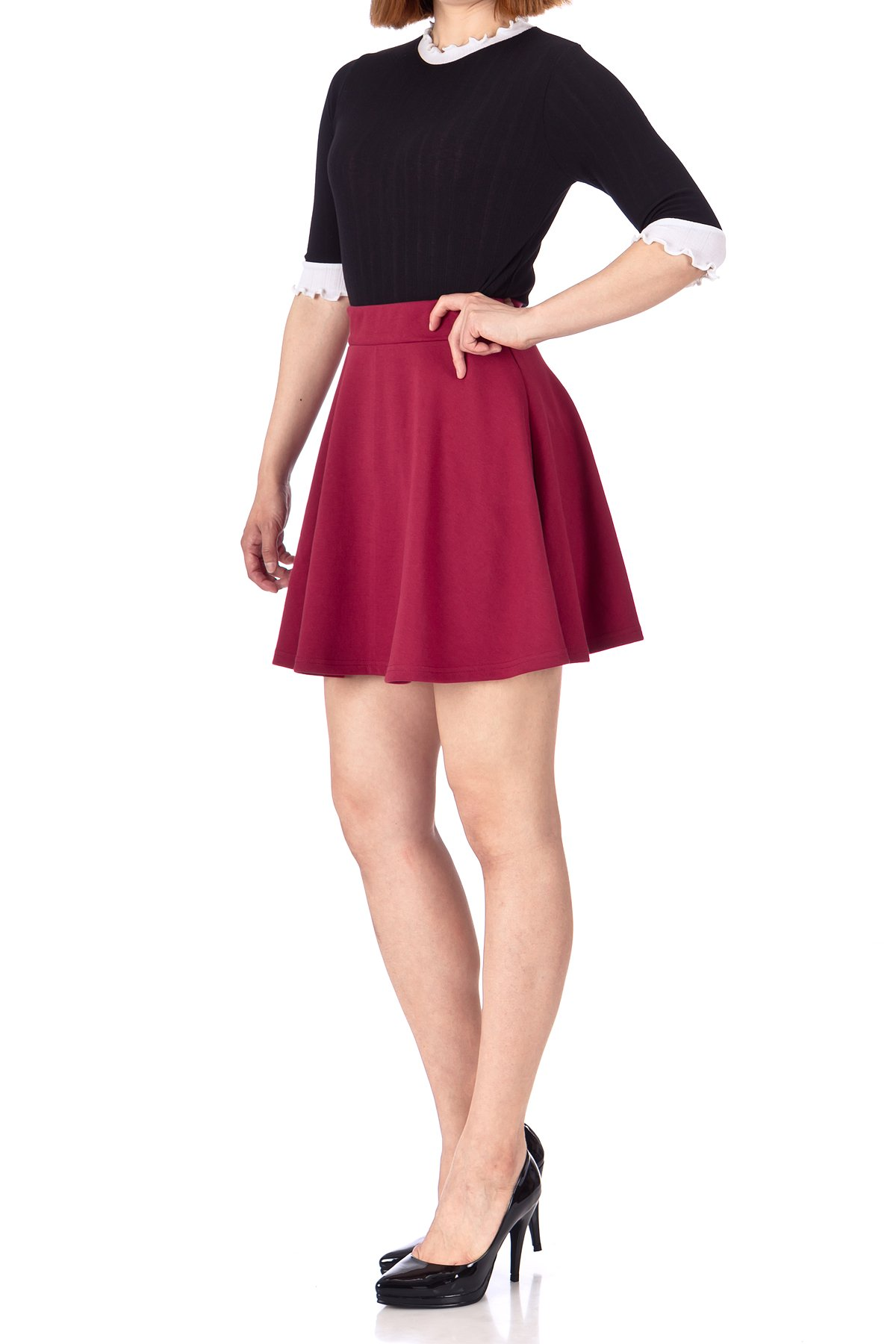 Basic Solid Stretchy Cotton High Waist line Flared Skater Mini Skirt Burgundy 03