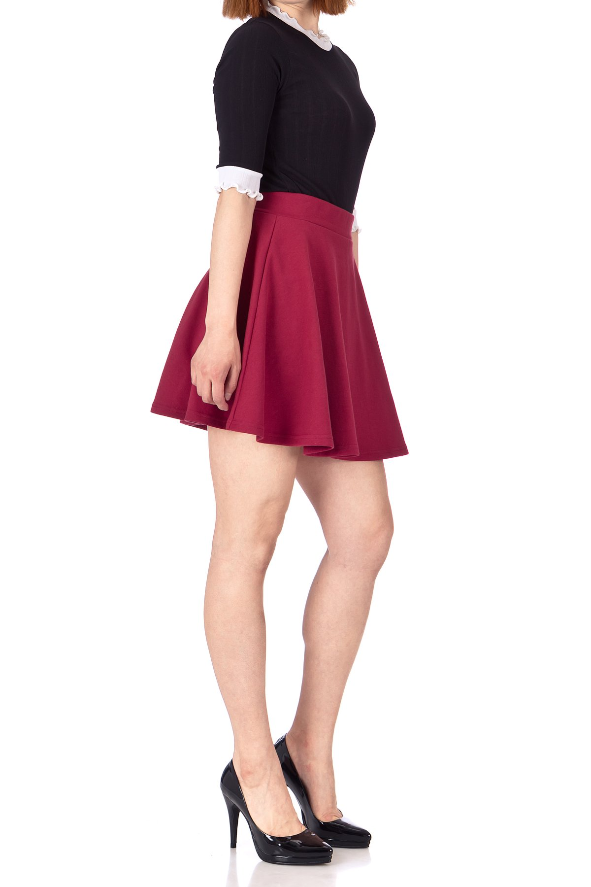 Basic Solid Stretchy Cotton High Waist line Flared Skater Mini Skirt Burgundy 04