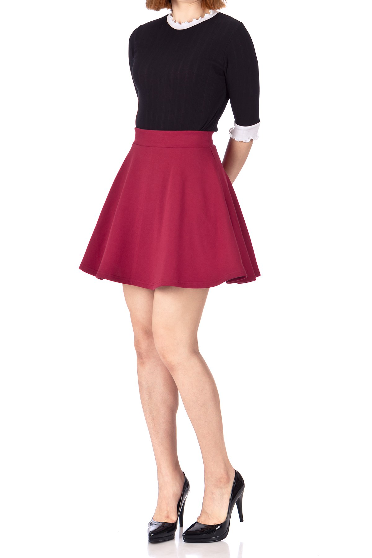 Basic Solid Stretchy Cotton High Waist line Flared Skater Mini Skirt Burgundy 05