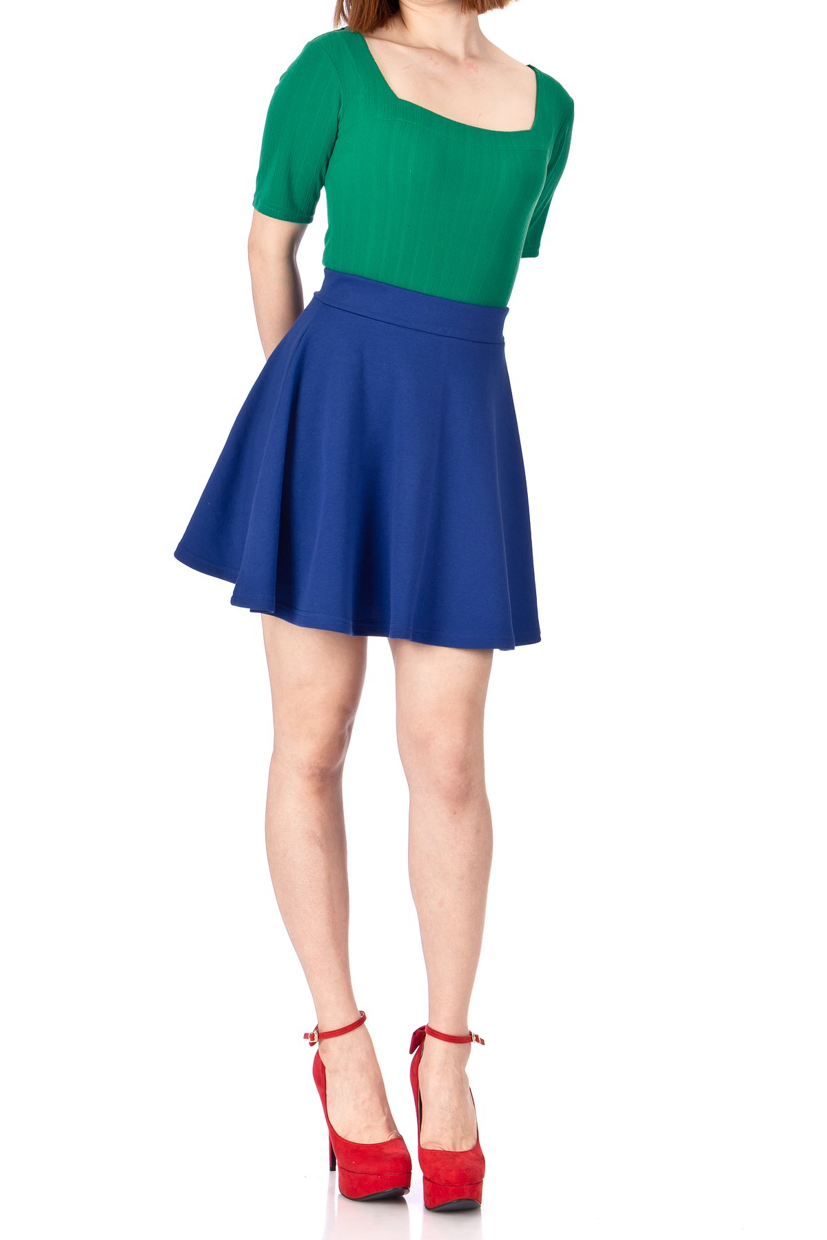 Basic Solid Stretchy Cotton High Waist line Flared Skater Mini Skirt Cobalt Blue 02