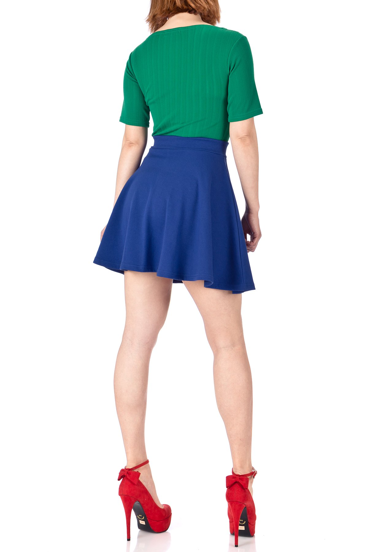Basic Solid Stretchy Cotton High Waist line Flared Skater Mini Skirt Cobalt Blue 05