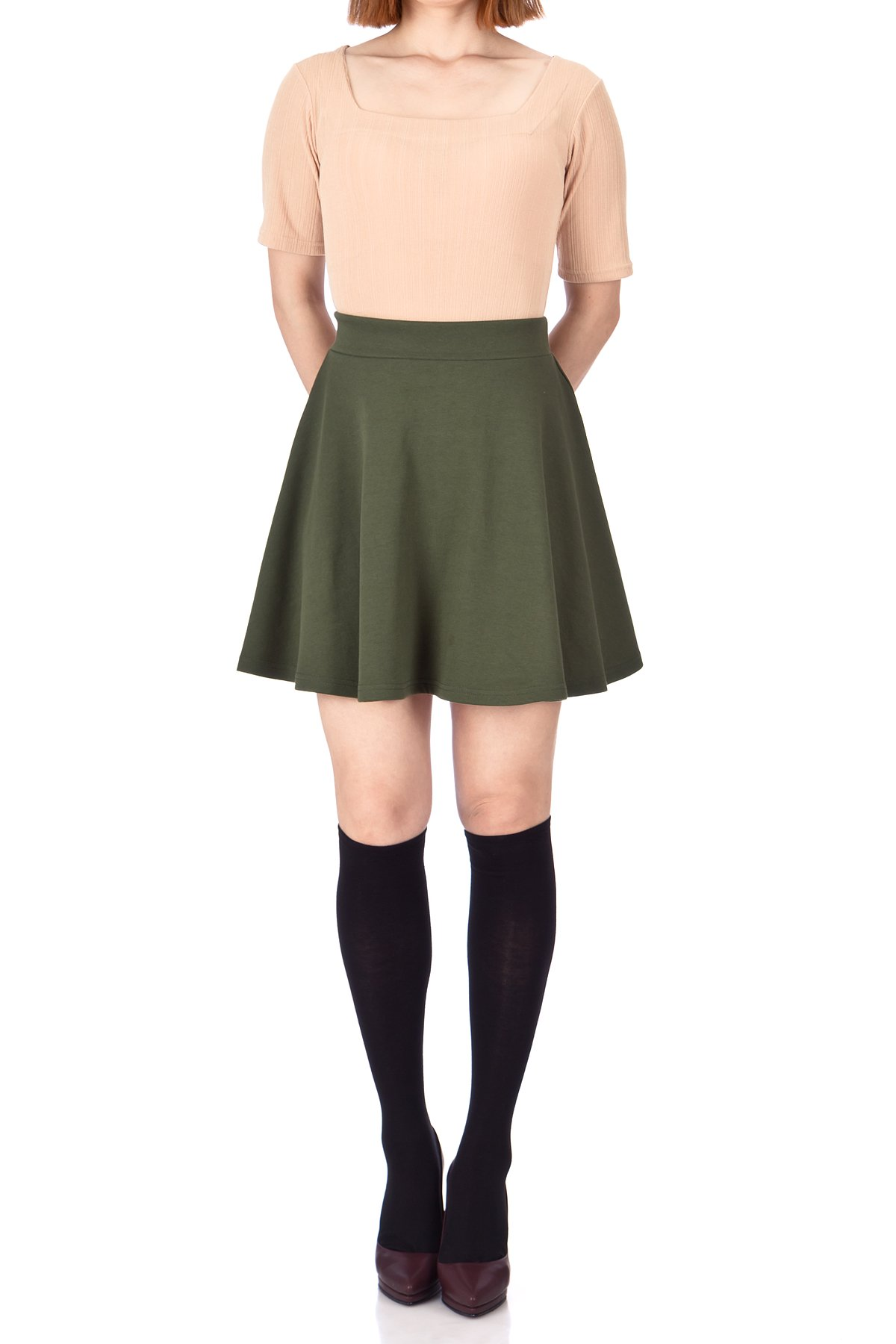 Basic Solid Stretchy Cotton High Waist line Flared Skater Mini Skirt Khaki 02