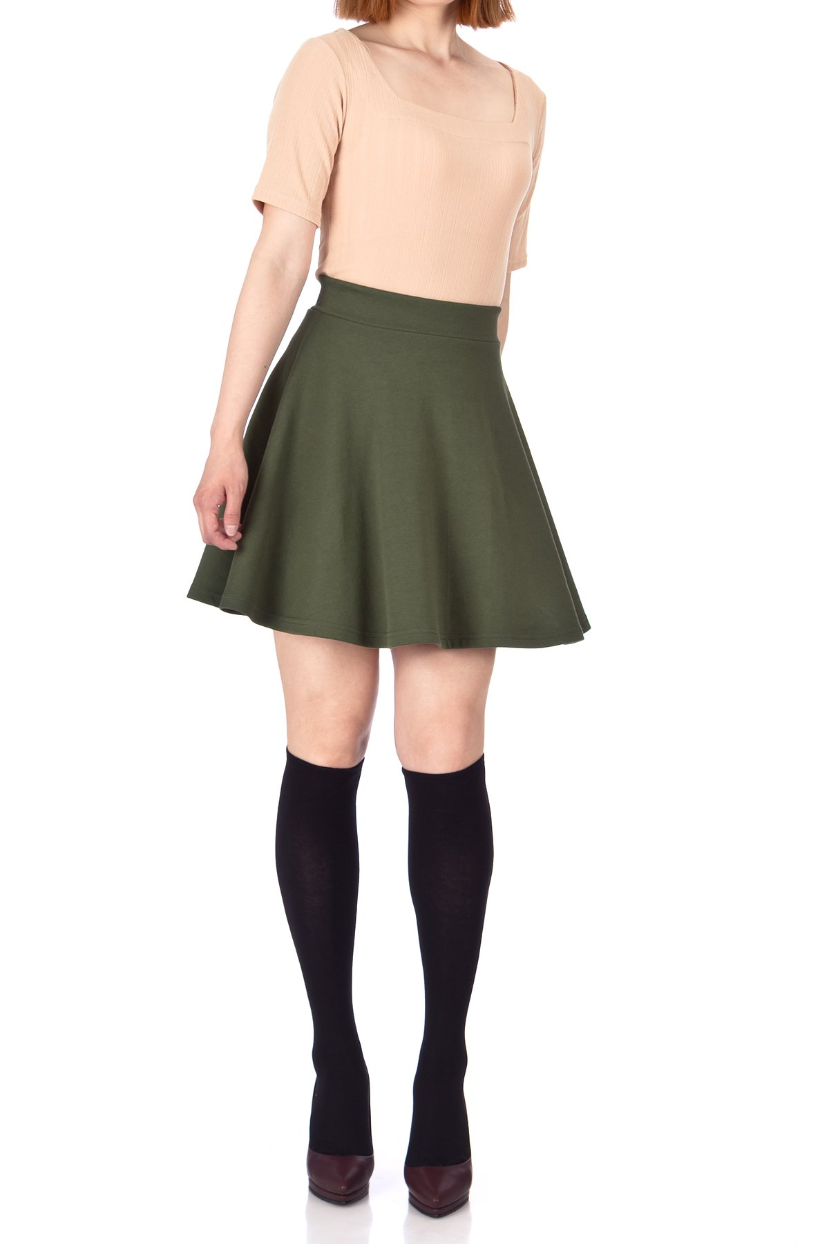 Basic Solid Stretchy Cotton High Waist line Flared Skater Mini Skirt Khaki 03