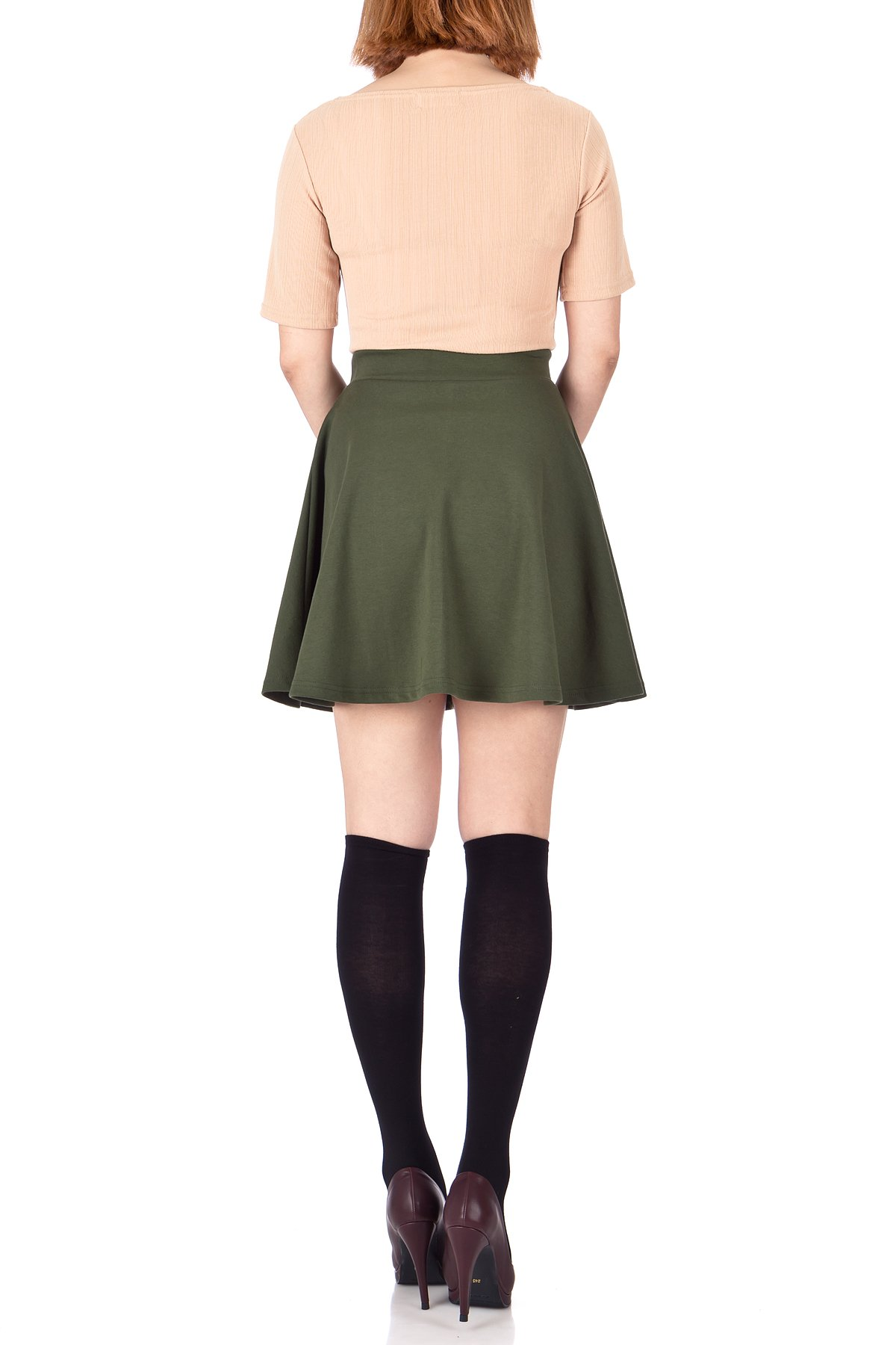Basic Solid Stretchy Cotton High Waist line Flared Skater Mini Skirt Khaki 04