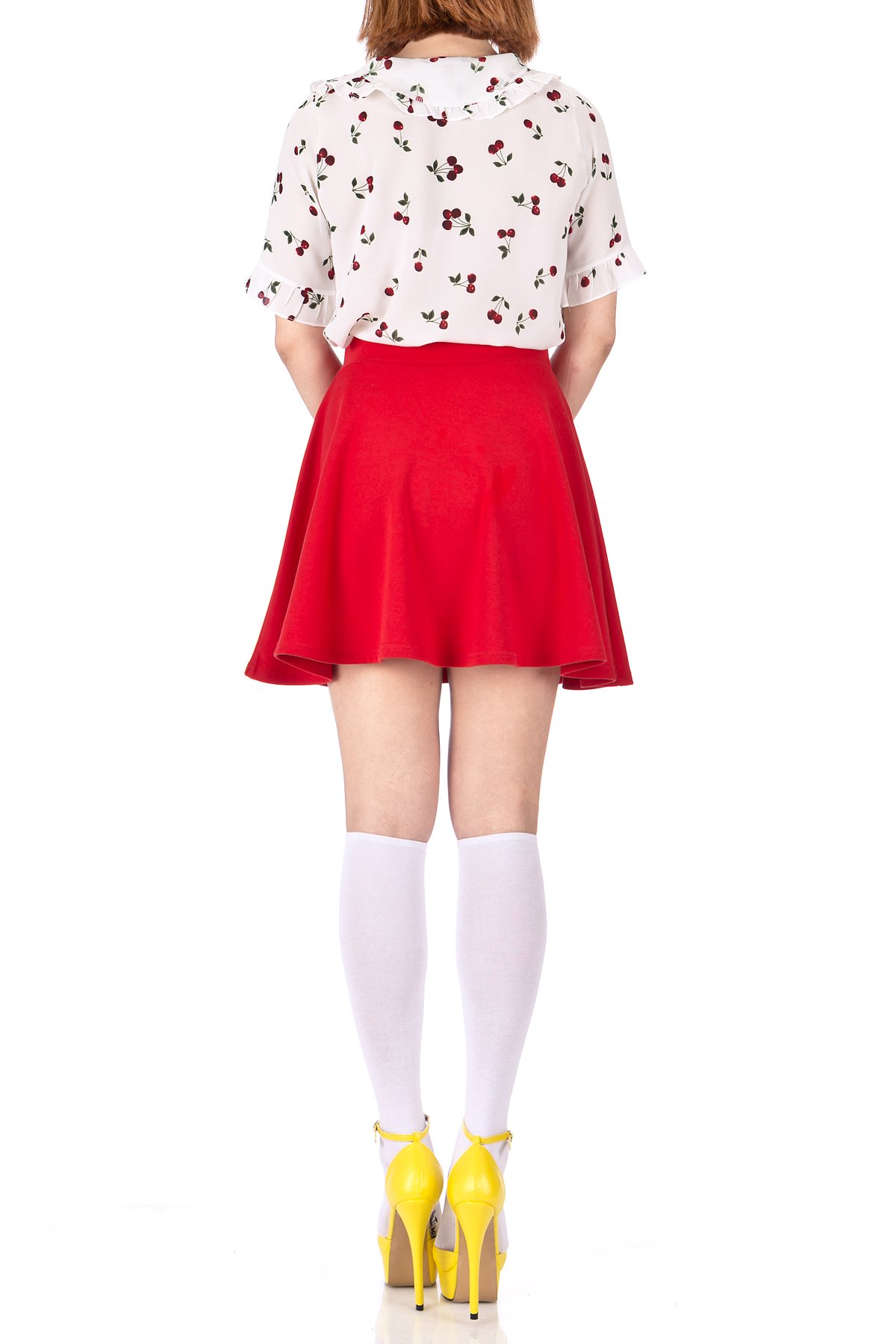 Basic Solid Stretchy Cotton High Waist line Flared Skater Mini Skirt Red 05