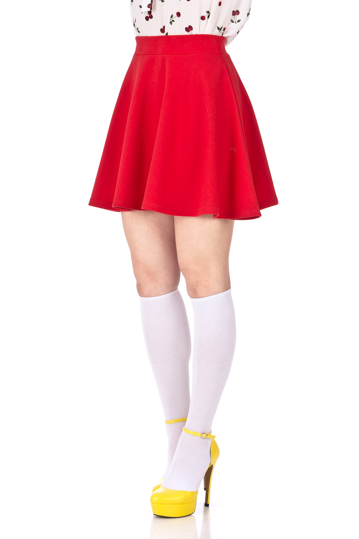Basic Solid Stretchy Cotton High Waist line Flared Skater Mini Skirt Red 06