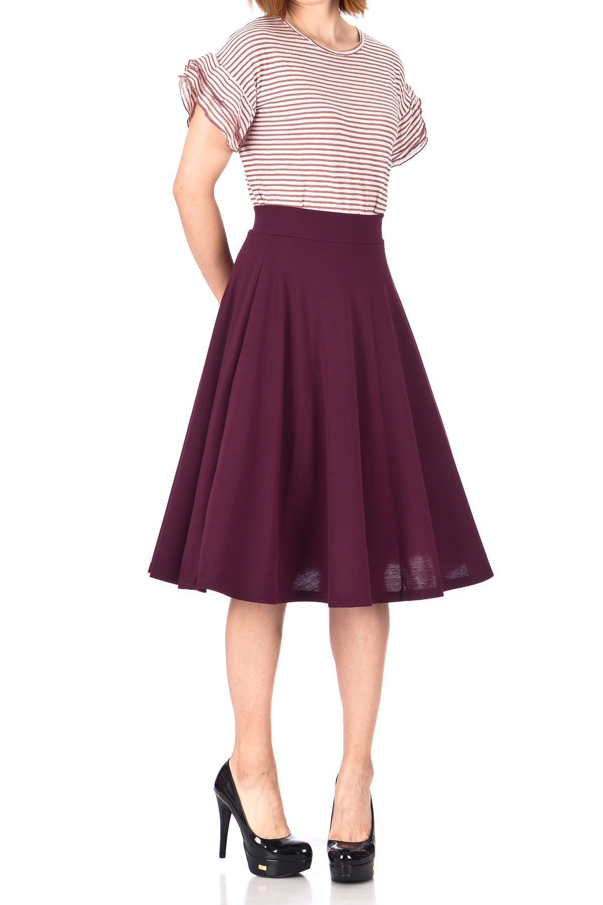 Beautiful Flowing A Line Flared Swing Midi Skirt Bordeaux Wine 01