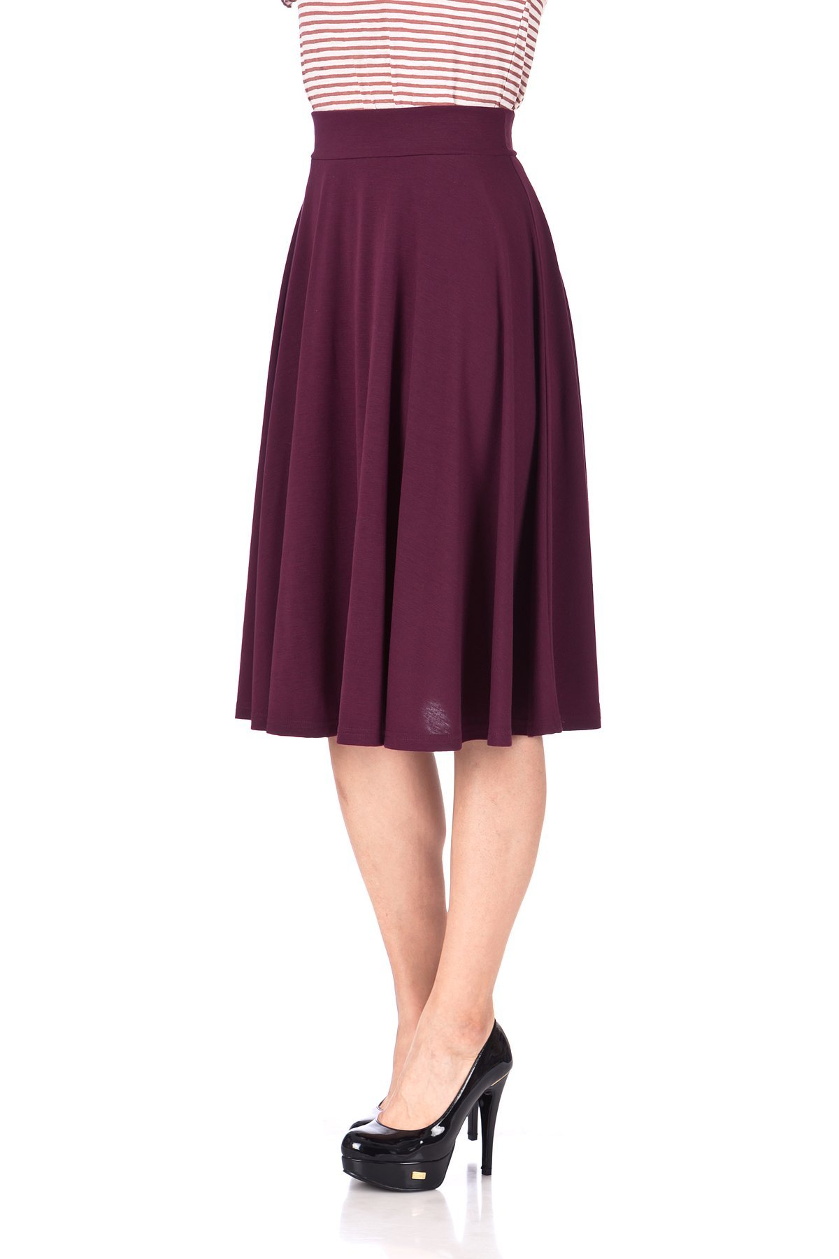 Beautiful Flowing A Line Flared Swing Midi Skirt Bordeaux Wine 06
