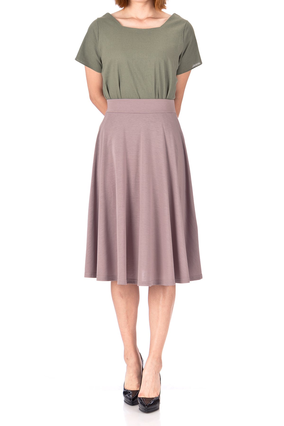 Beautiful Flowing A Line Flared Swing Midi Skirt Cocoa Berry 02