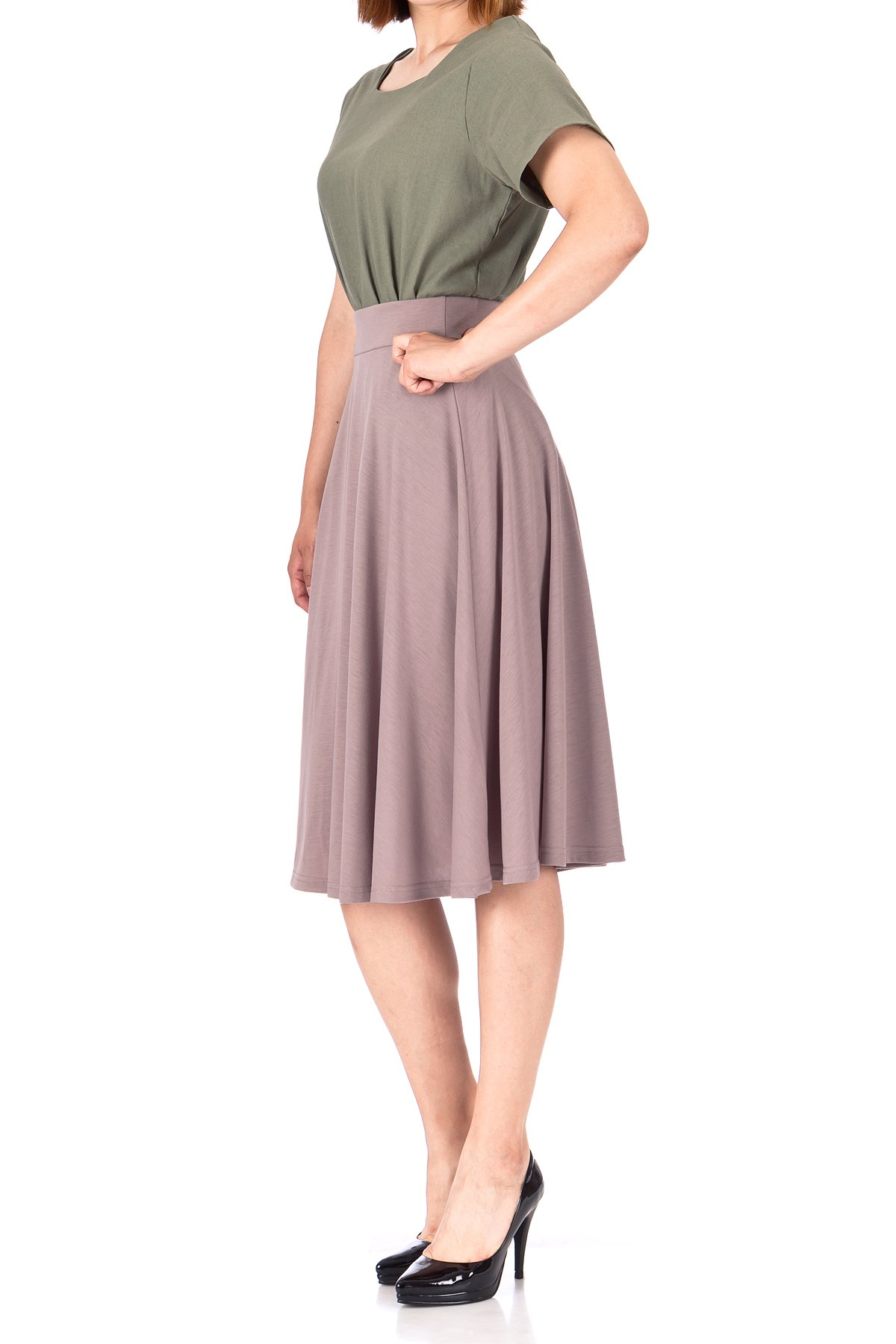 Beautiful Flowing A Line Flared Swing Midi Skirt Cocoa Berry 03