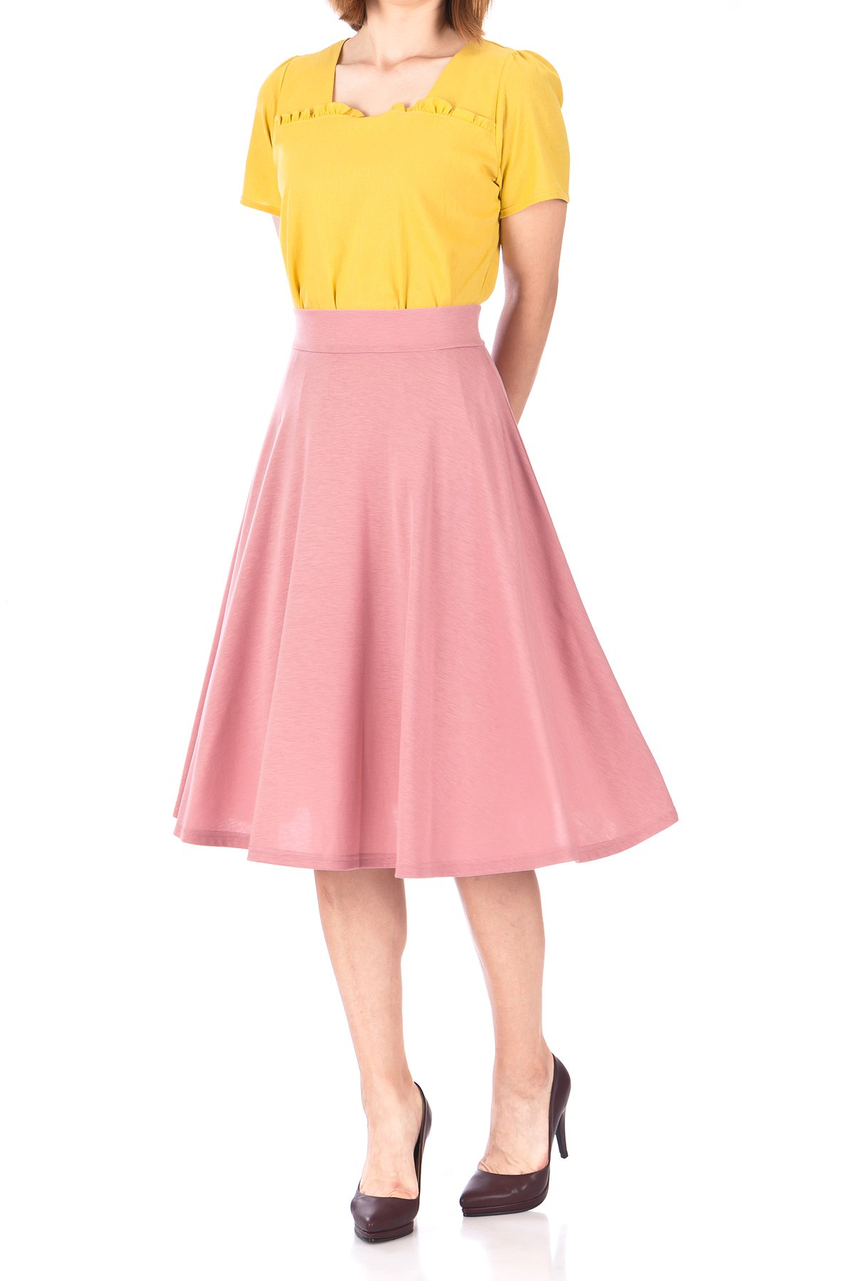 Beautiful Flowing A Line Flared Swing Midi Skirt Flamingo 01