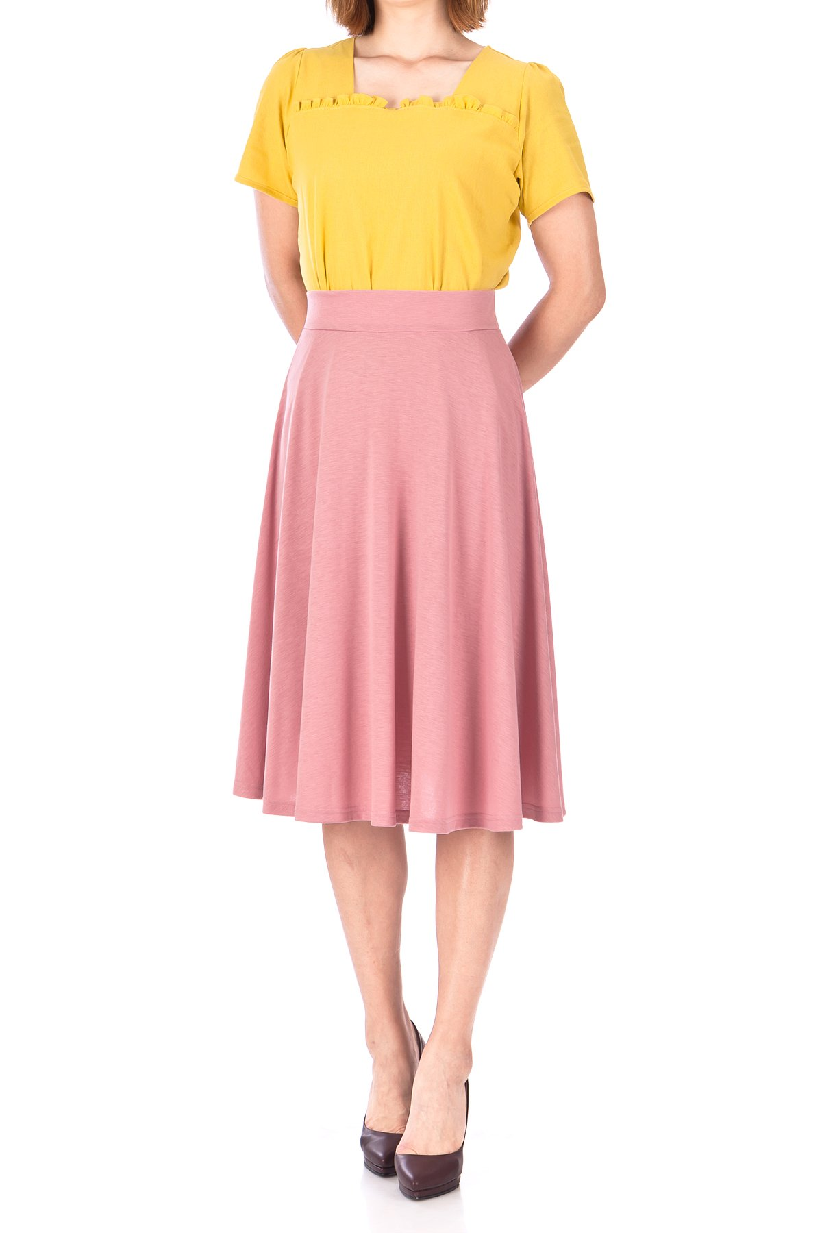 Beautiful Flowing A Line Flared Swing Midi Skirt Flamingo 02