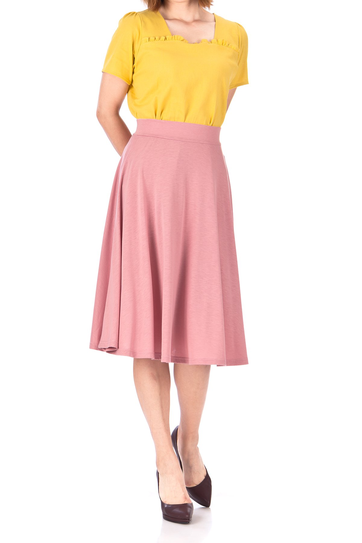Beautiful Flowing A Line Flared Swing Midi Skirt Flamingo 04