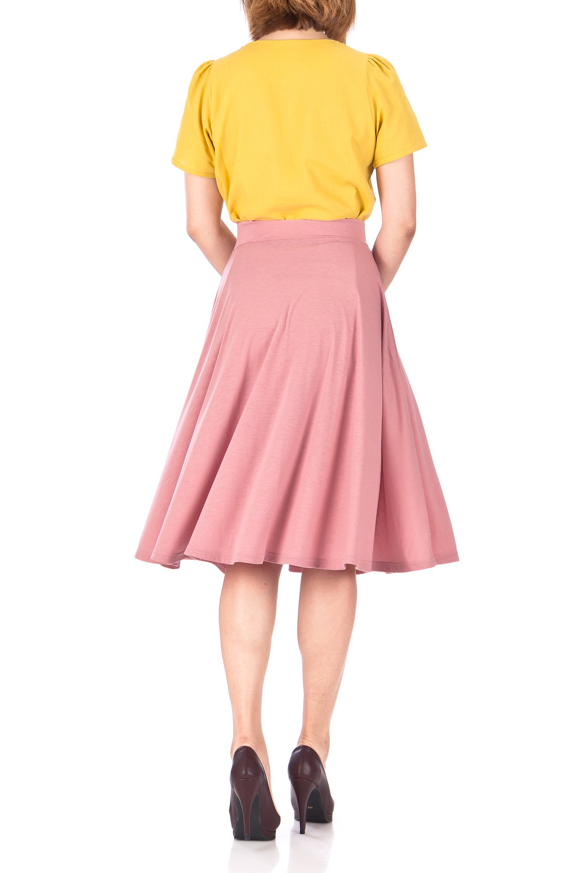 Beautiful Flowing A Line Flared Swing Midi Skirt Flamingo 05